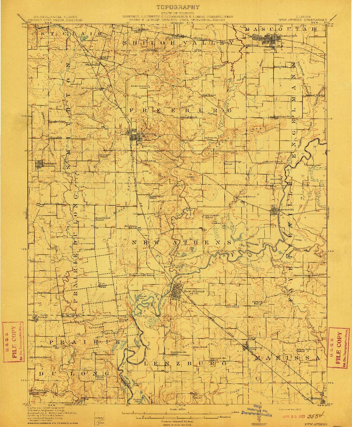 USGS 1:62500-SCALE QUADRANGLE FOR NEW ATHENS, IL 1912