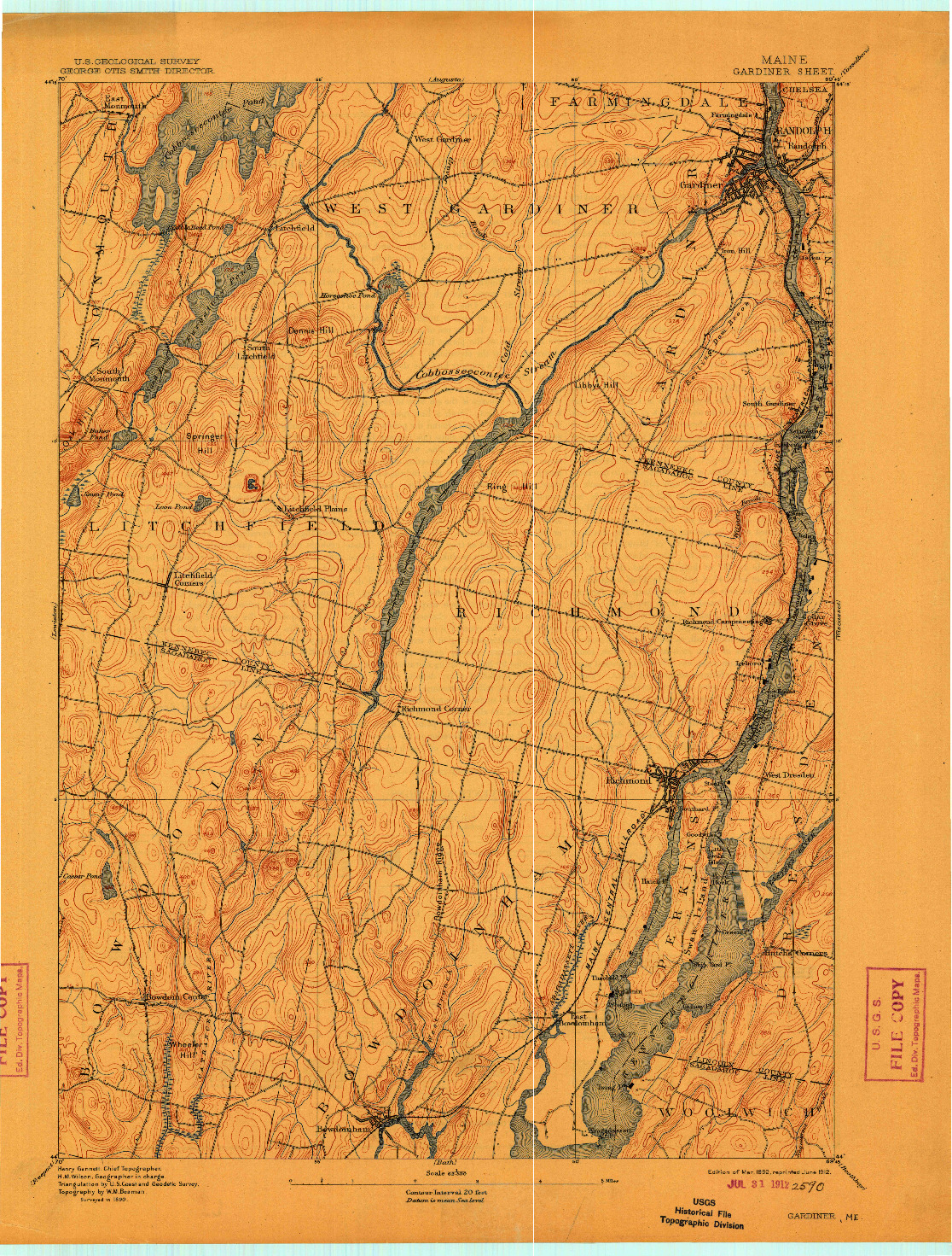 USGS 1:62500-SCALE QUADRANGLE FOR GARDINER, ME 1892