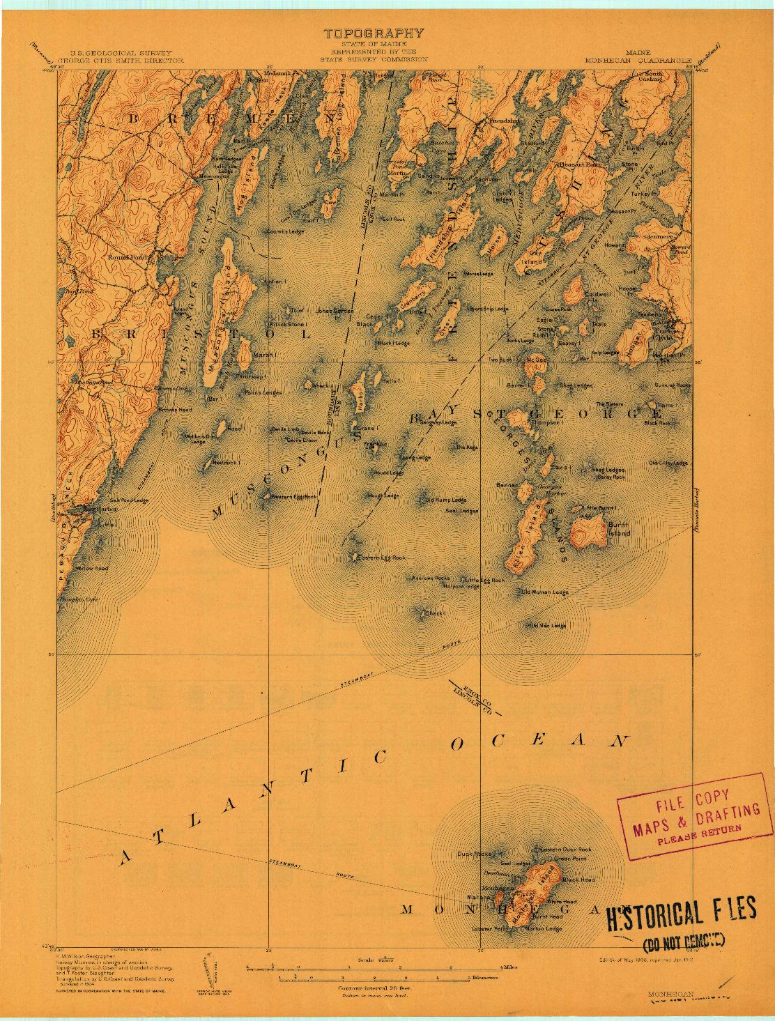 USGS 1:62500-SCALE QUADRANGLE FOR MONHEGAN, ME 1906