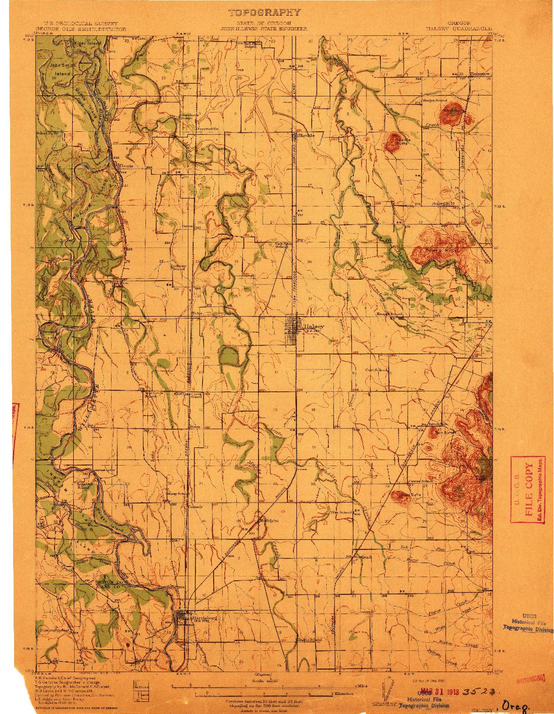 USGS 1:62500-SCALE QUADRANGLE FOR HALSEY, OR 1912