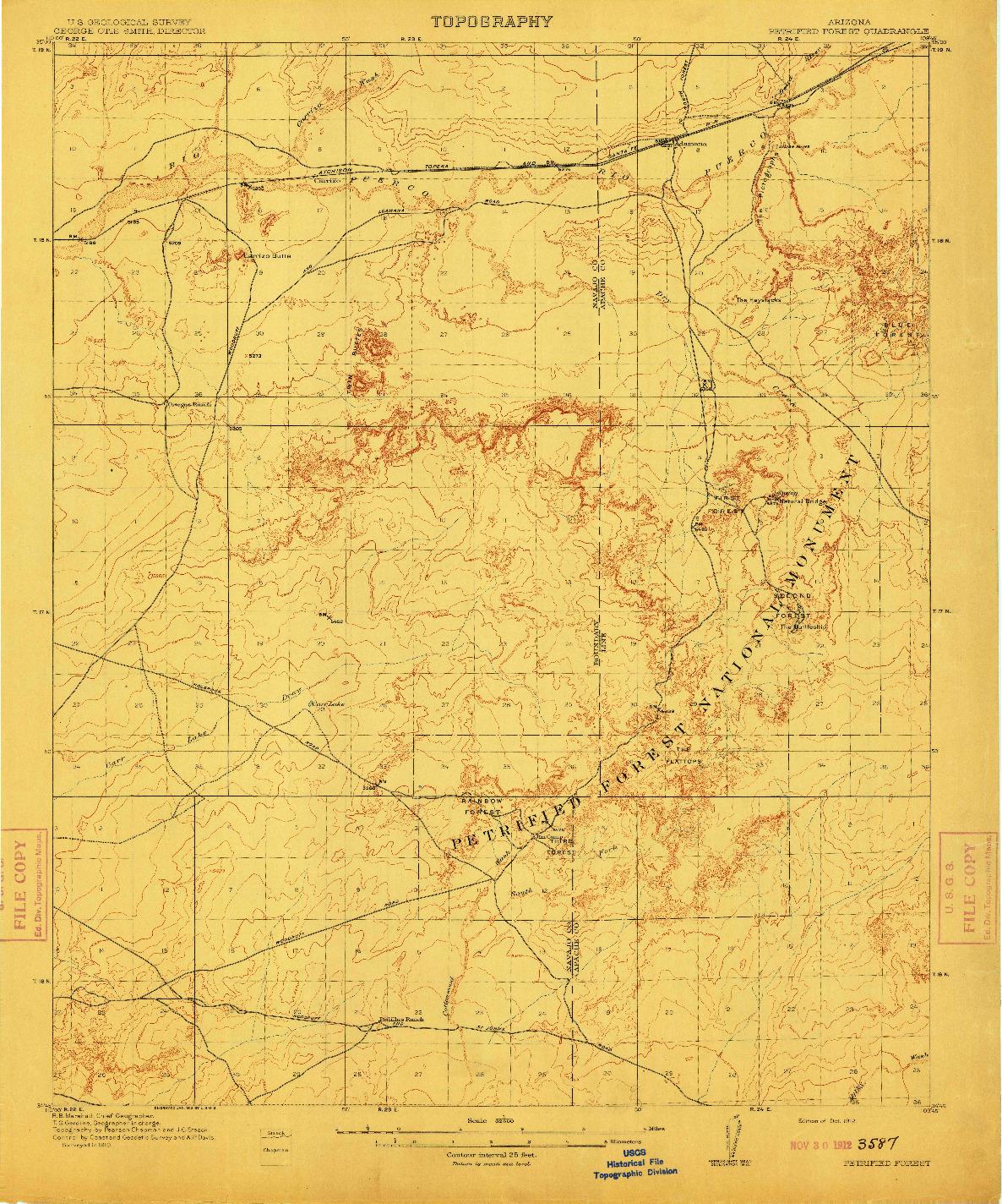 USGS 1:62500-SCALE QUADRANGLE FOR PETRIFIED FOREST, AZ 1912