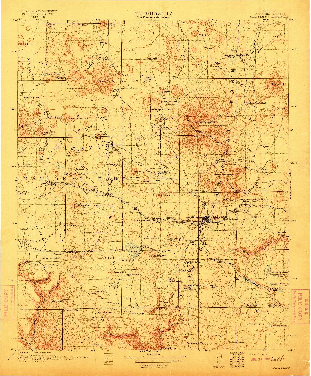 USGS 1:125000-SCALE QUADRANGLE FOR FLAGSTAFF, AZ 1912