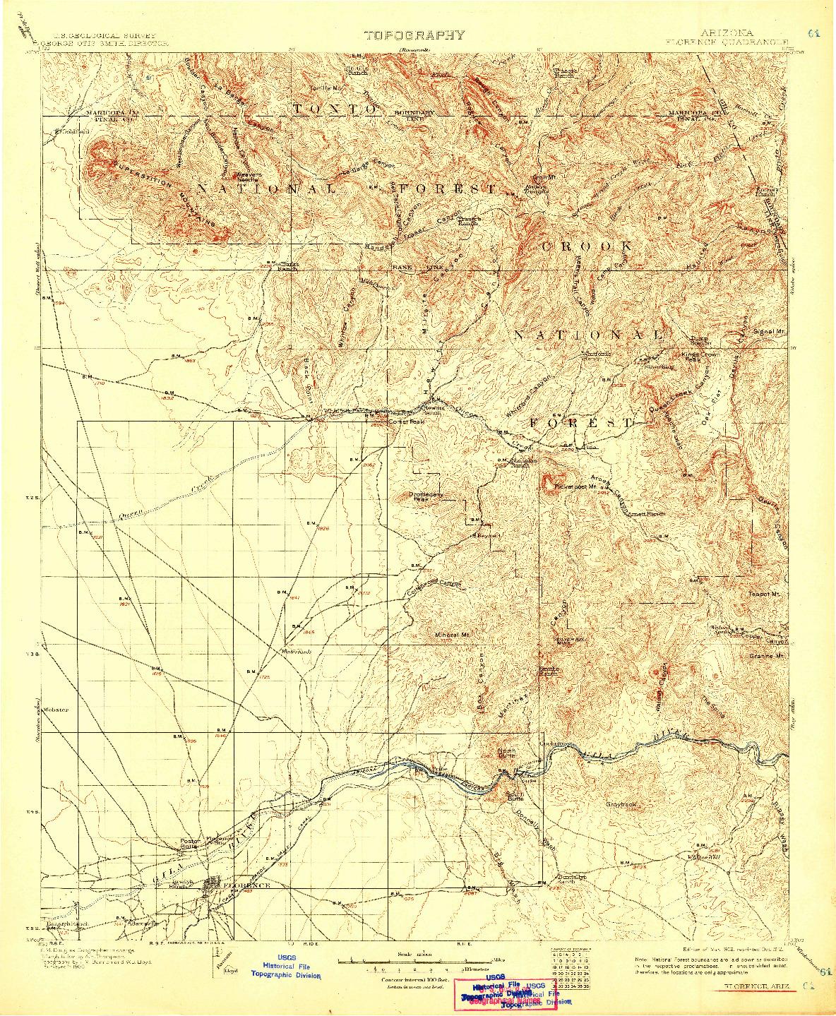 USGS 1:125000-SCALE QUADRANGLE FOR FLORENCE, AZ 1902