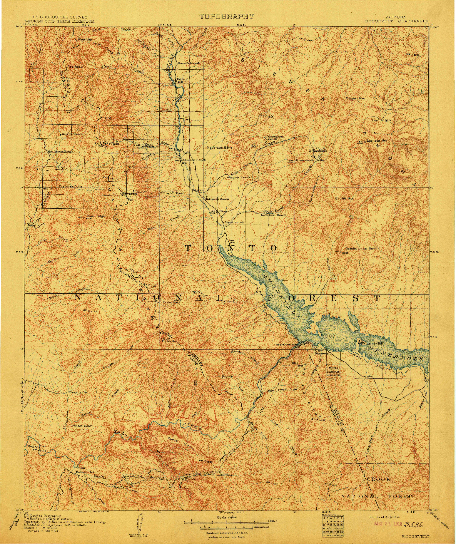 USGS 1:125000-SCALE QUADRANGLE FOR ROOSEVELT, AZ 1912