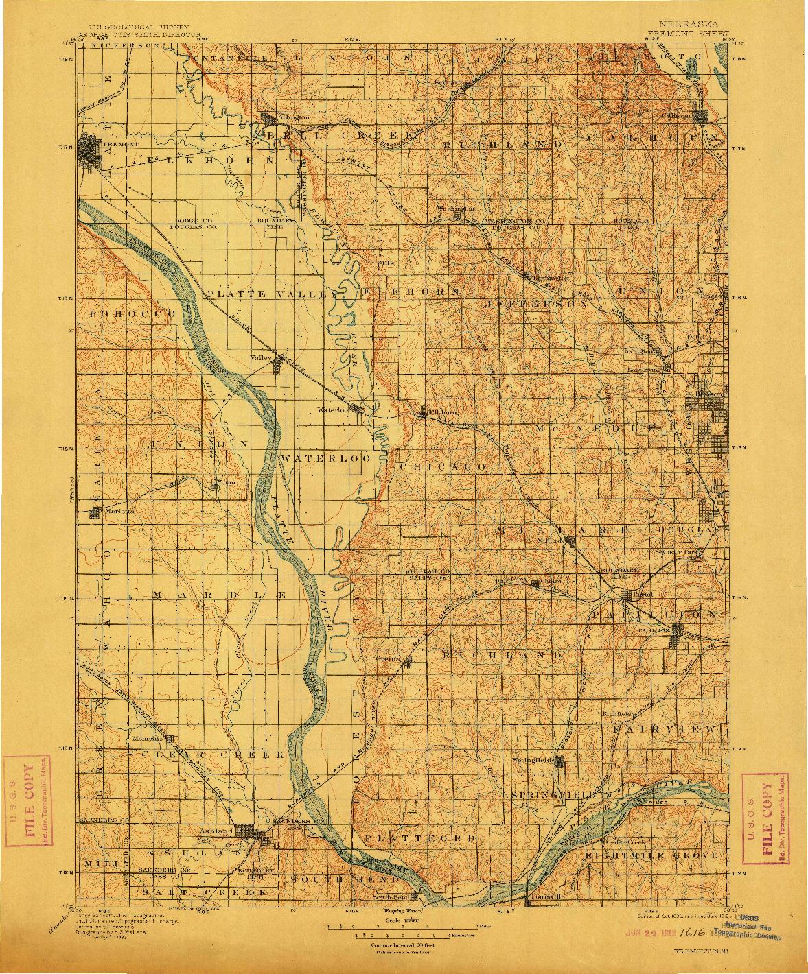 USGS 1:125000-SCALE QUADRANGLE FOR FREMONT, NE 1896