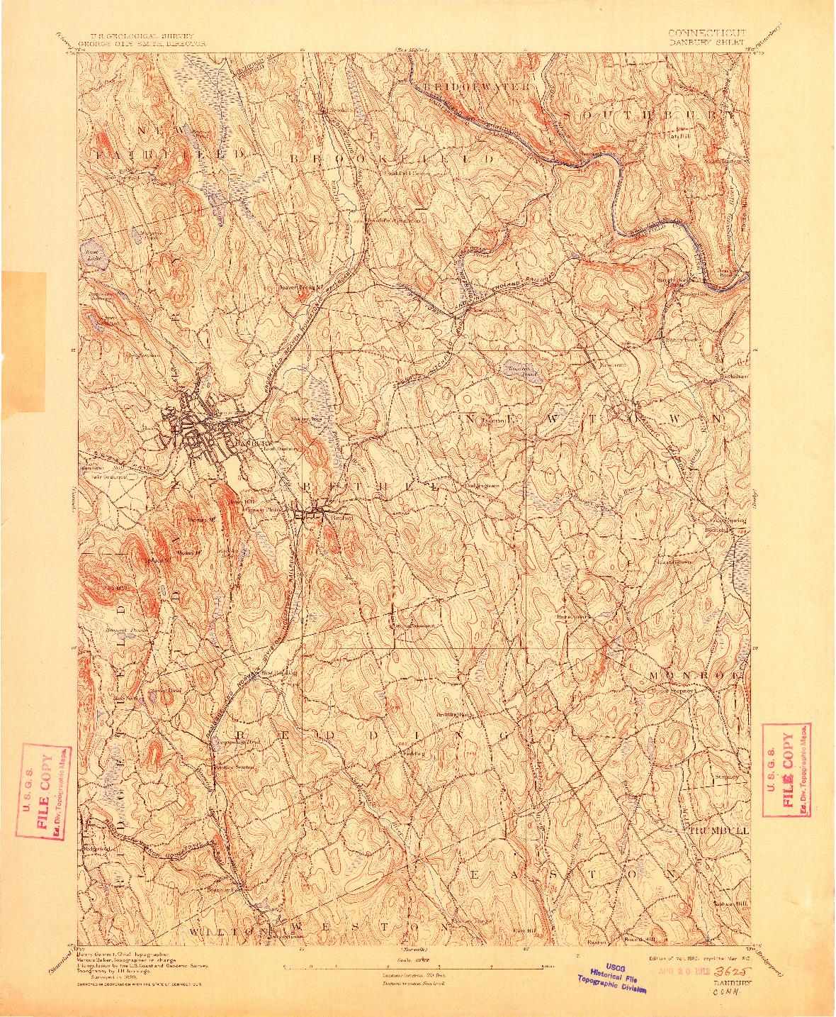 USGS 1:62500-SCALE QUADRANGLE FOR DANBURY, CT 1892