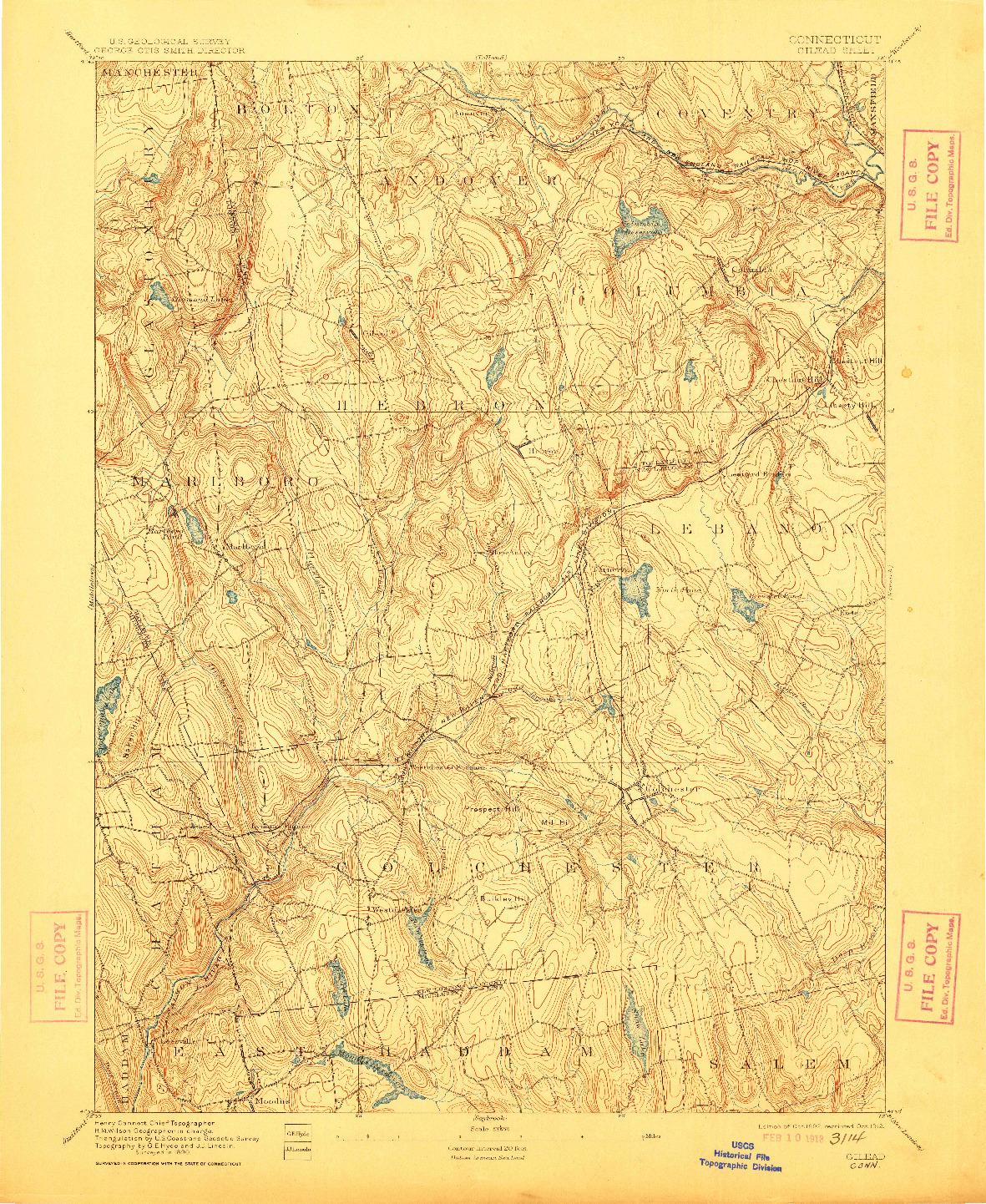 USGS 1:62500-SCALE QUADRANGLE FOR GILEAD, CT 1892