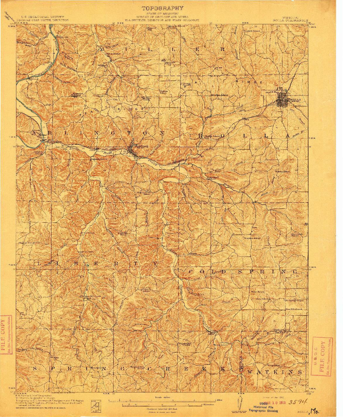 USGS 1:62500-SCALE QUADRANGLE FOR ROLLA, MO 1912