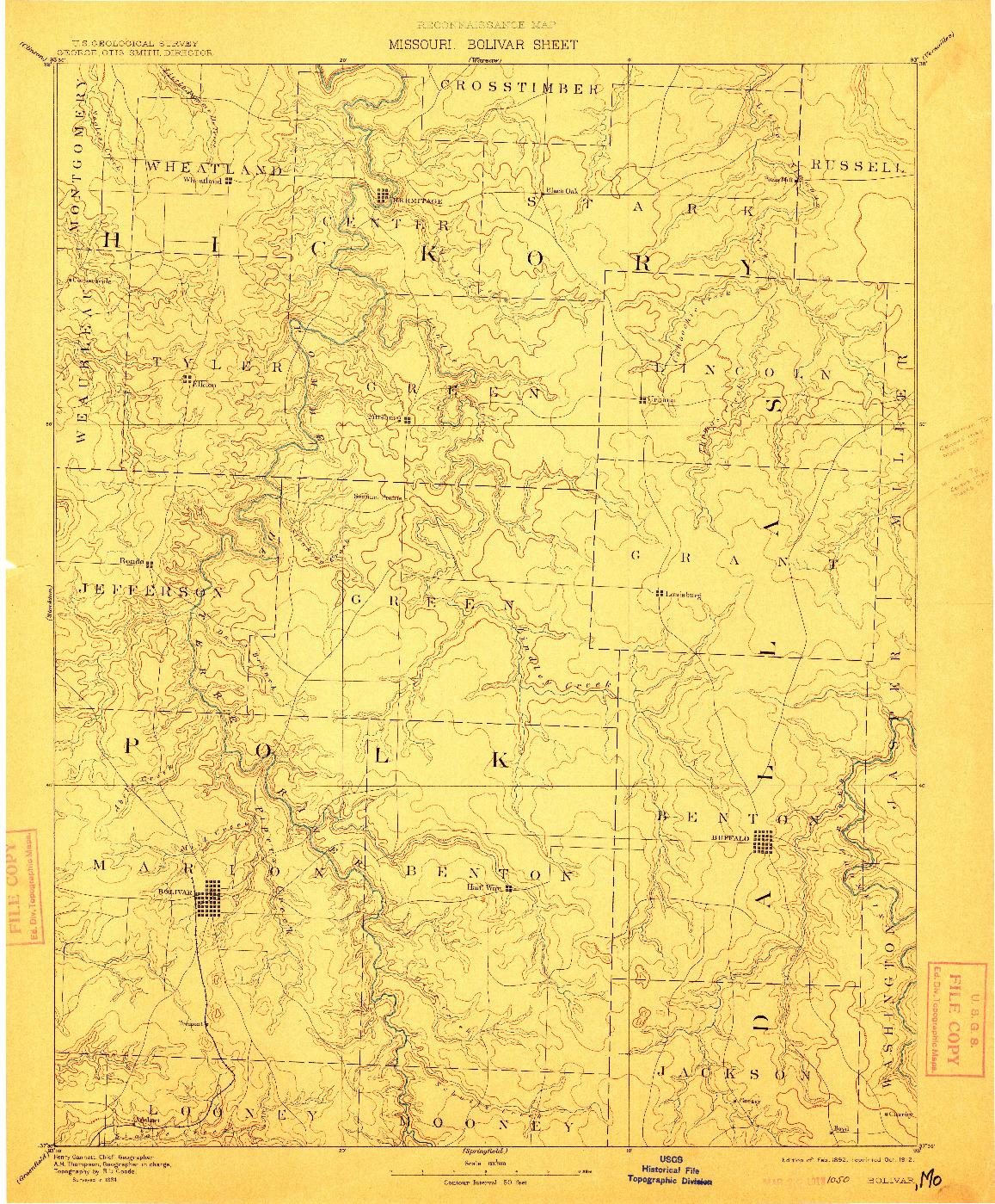 USGS 1:125000-SCALE QUADRANGLE FOR BOLIVAR, MO 1892