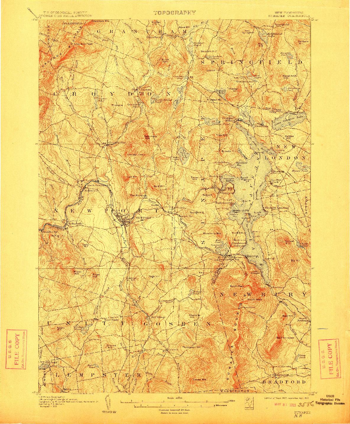 USGS 1:62500-SCALE QUADRANGLE FOR SUNAPEE, NH 1907