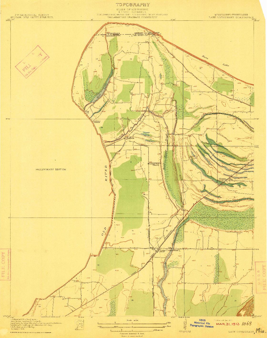USGS 1:31680-SCALE QUADRANGLE FOR LAKE CORMORANT, MS 1912