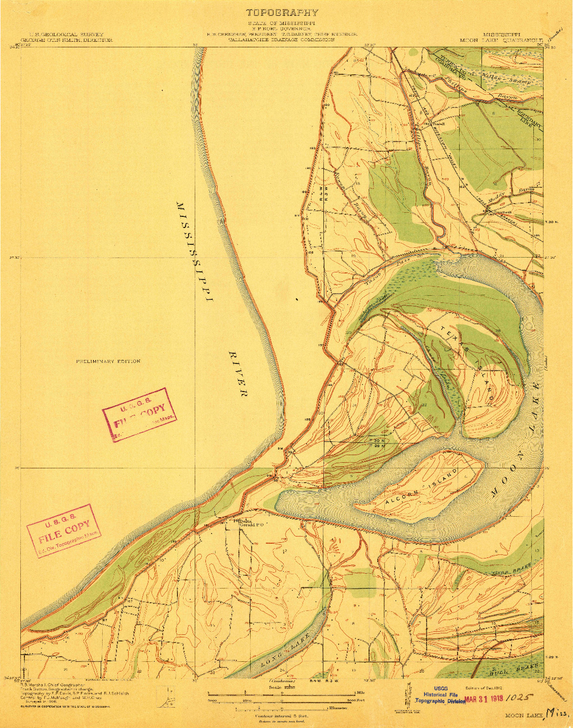 USGS 1:31680-SCALE QUADRANGLE FOR MOON LAKE, MS 1912
