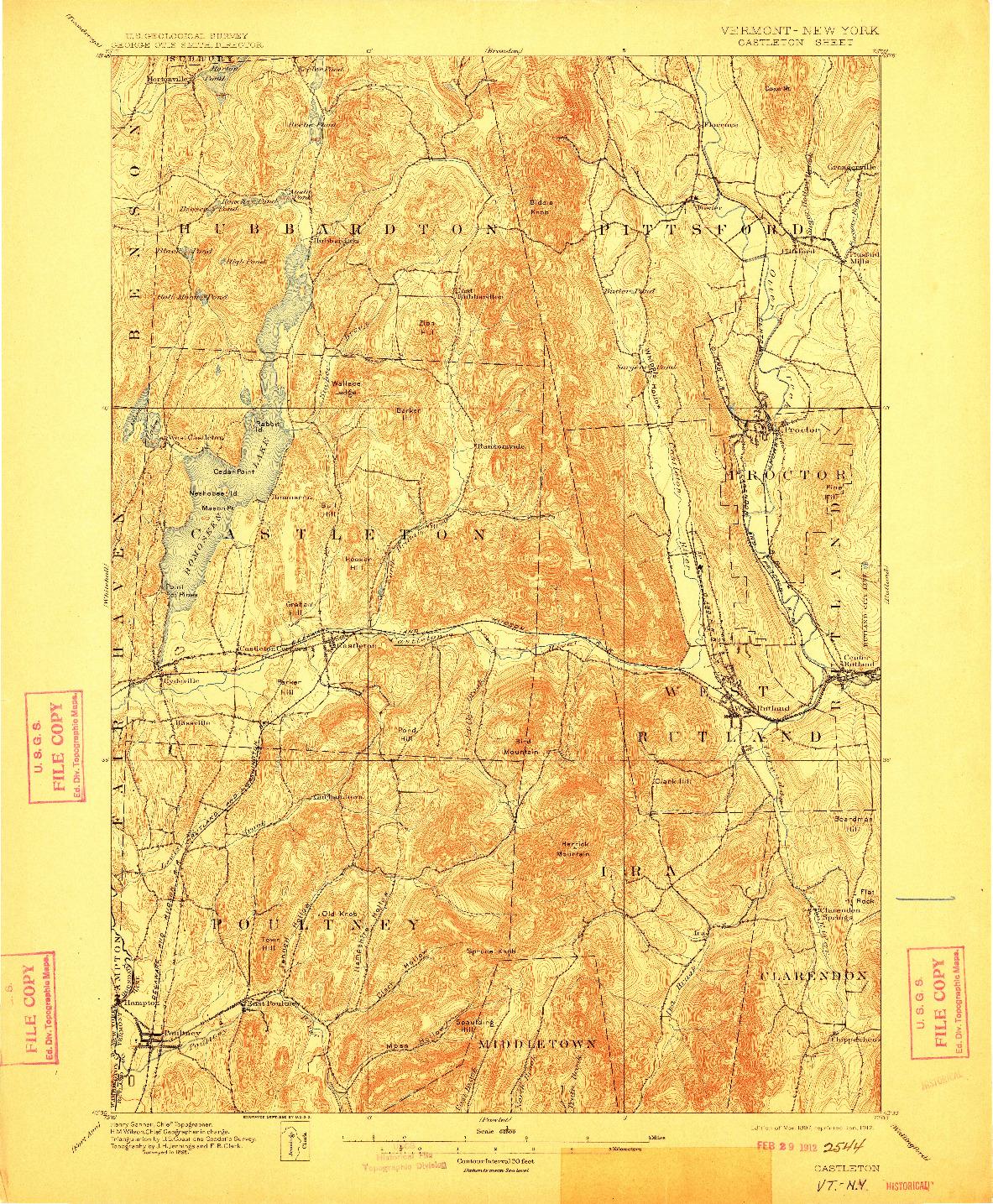 USGS 1:62500-SCALE QUADRANGLE FOR CASTLETON, VT 1897