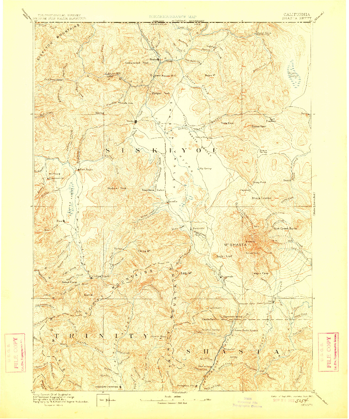 USGS 1:250000-SCALE QUADRANGLE FOR SHASTA, CA 1894