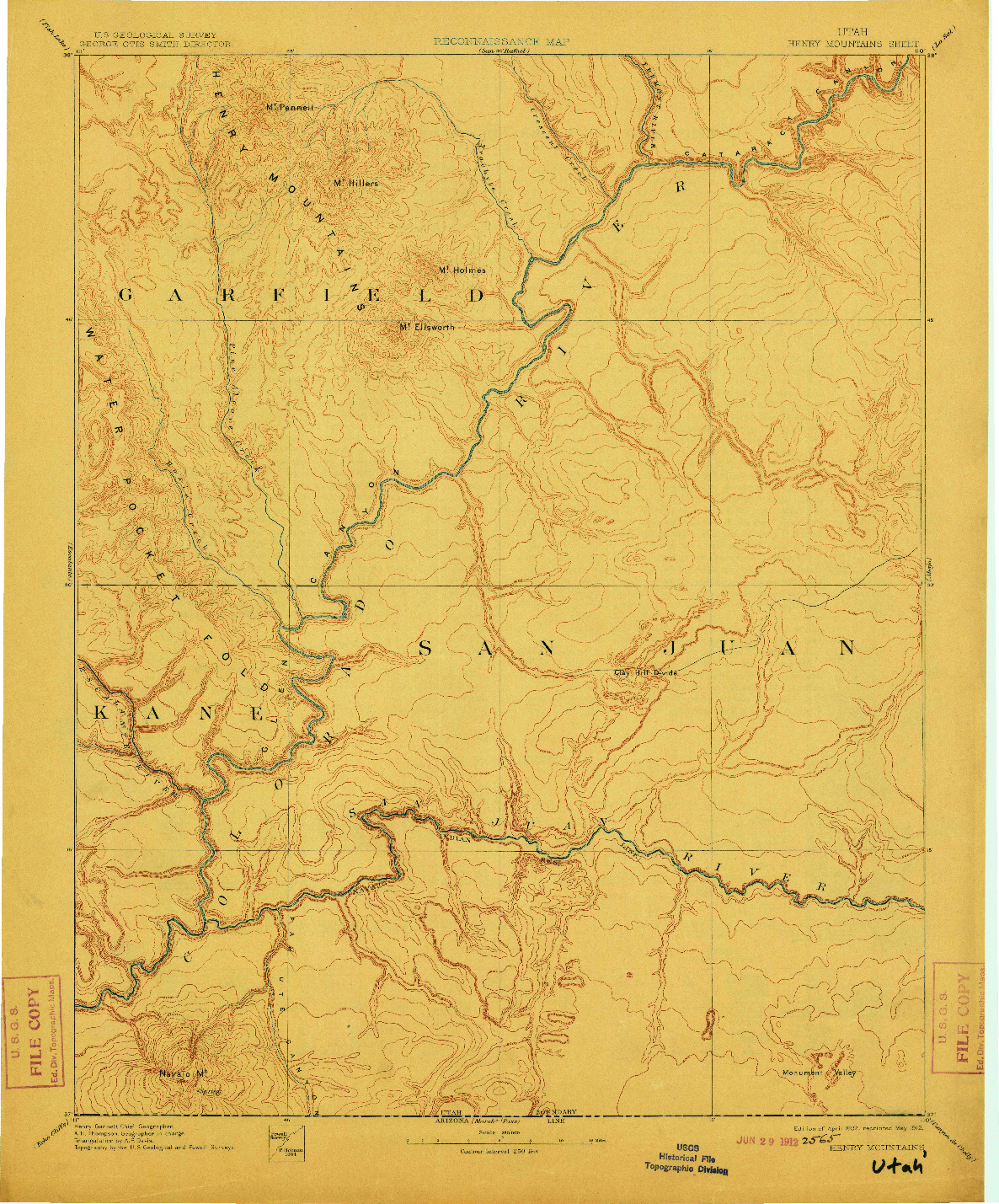USGS 1:250000-SCALE QUADRANGLE FOR HENRY MOUNTAINS, UT 1892