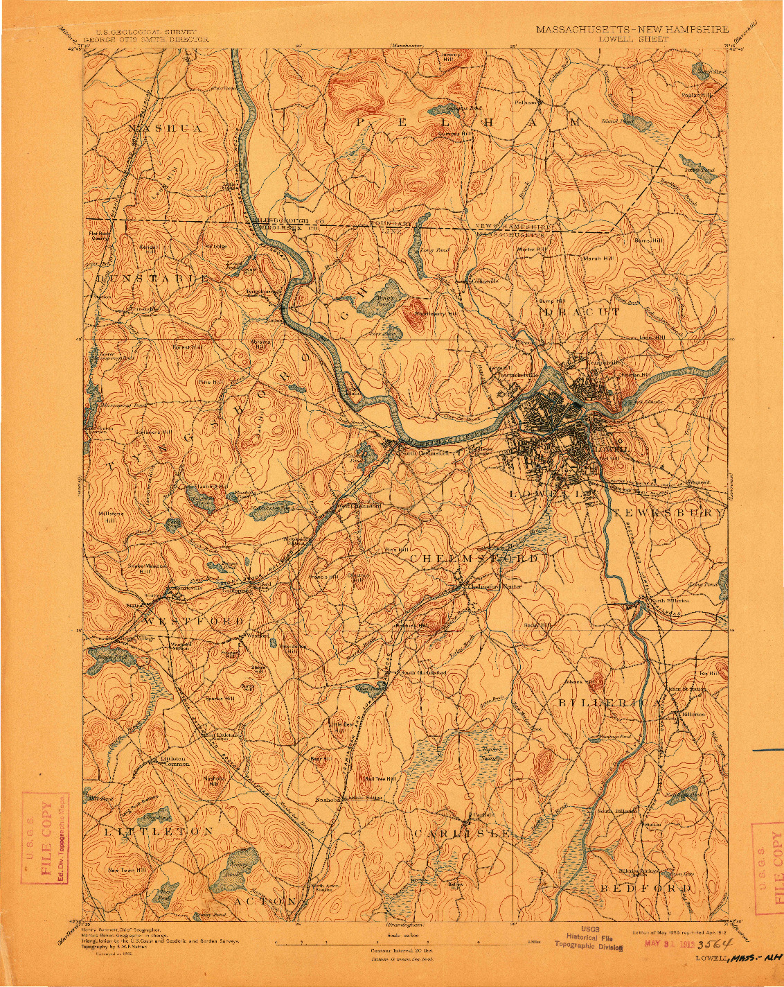 USGS 1:62500-SCALE QUADRANGLE FOR LOWELL, MA 1893