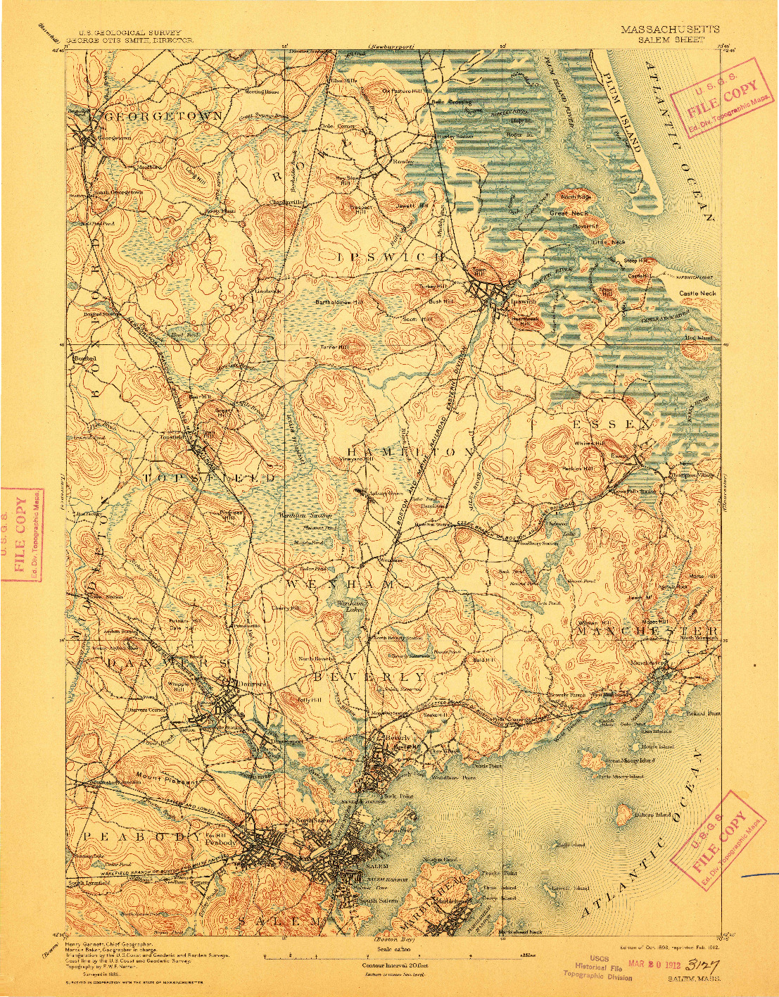 USGS 1:62500-SCALE QUADRANGLE FOR SALEM, MA 1893