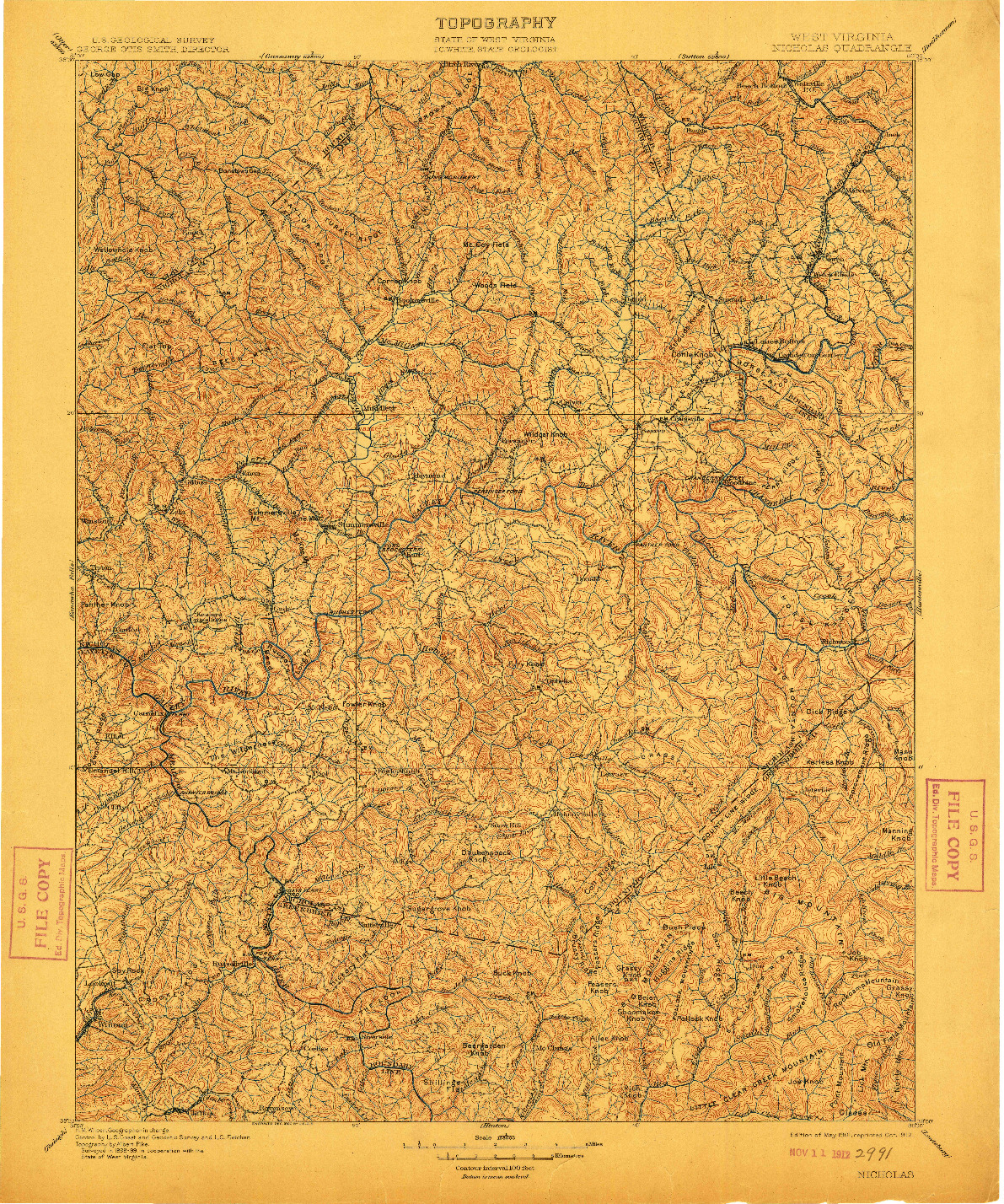 USGS 1:125000-SCALE QUADRANGLE FOR NICHOLAS, WV 1901