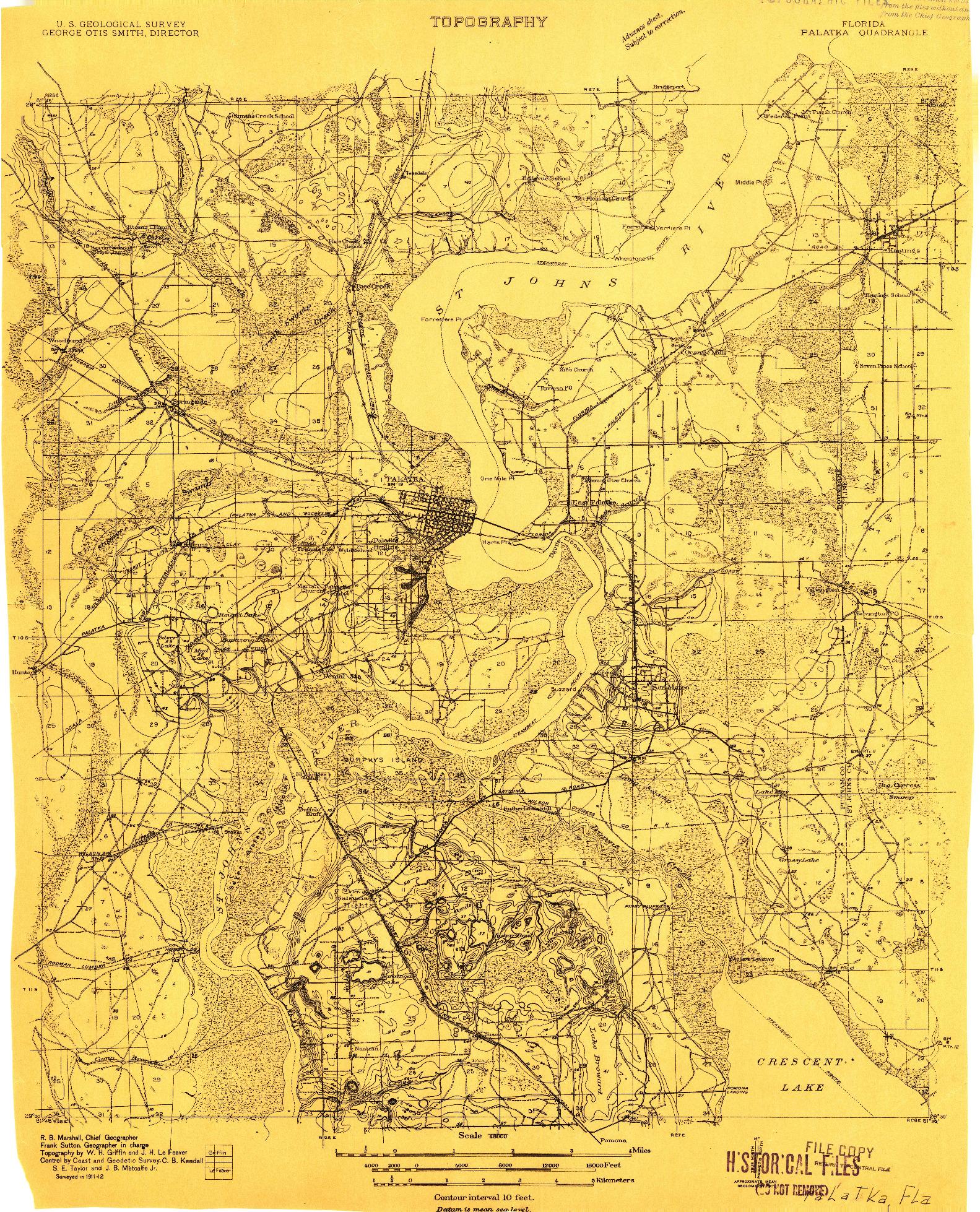 USGS 1:48000-SCALE QUADRANGLE FOR PALATKA, FL 1912