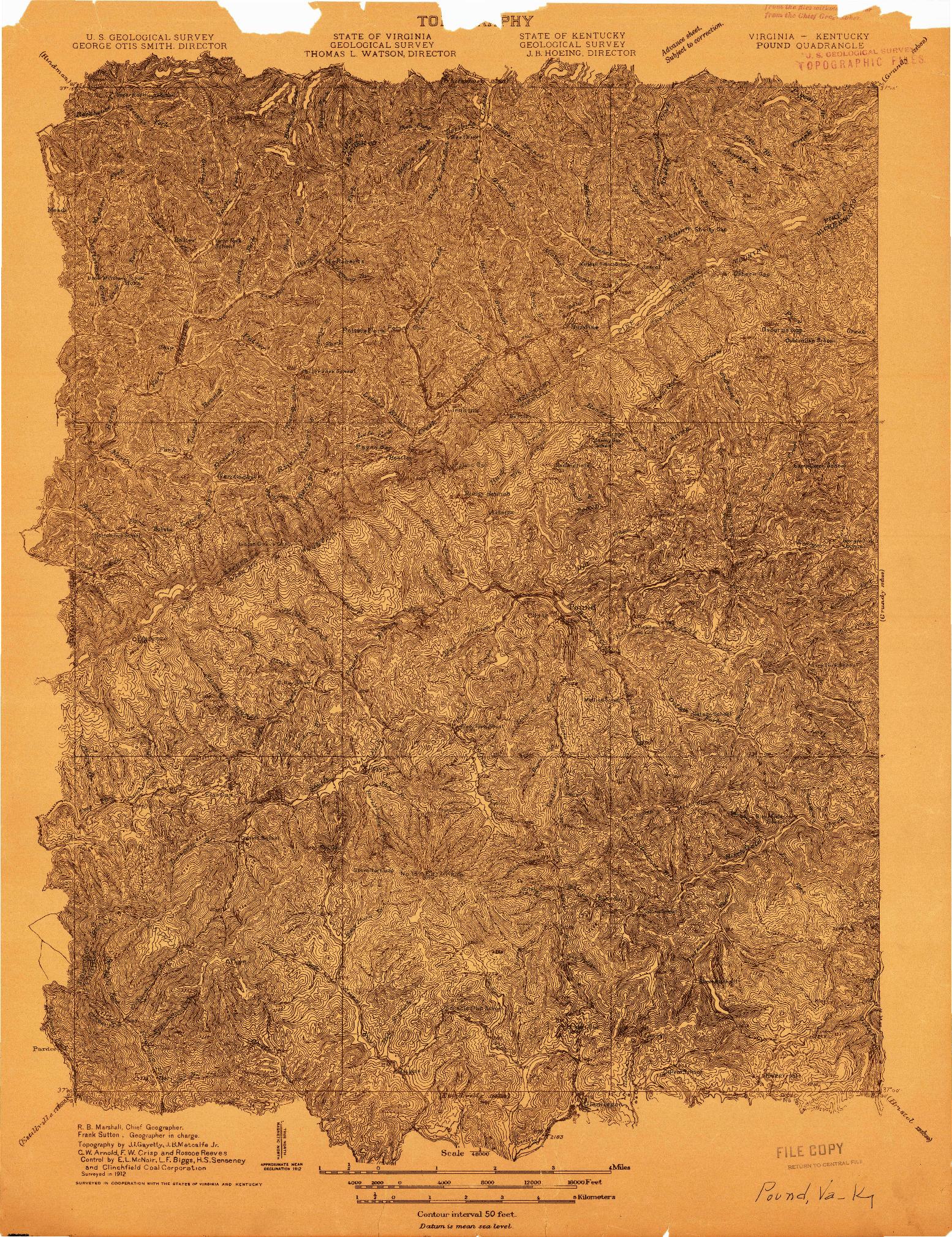 USGS 1:48000-SCALE QUADRANGLE FOR POUND, VA 1912