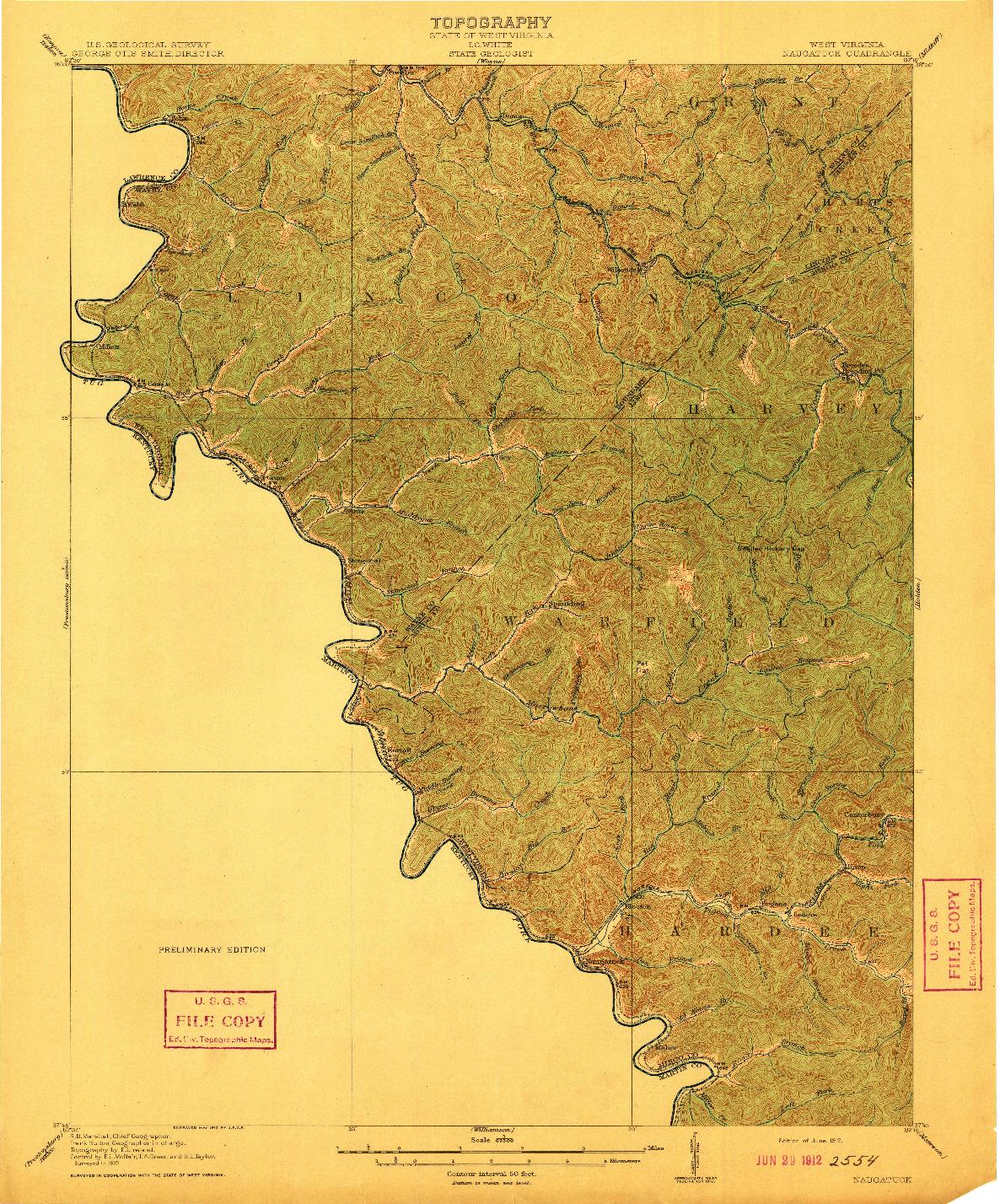USGS 1:62500-SCALE QUADRANGLE FOR NAUGATUCK, WV 1912