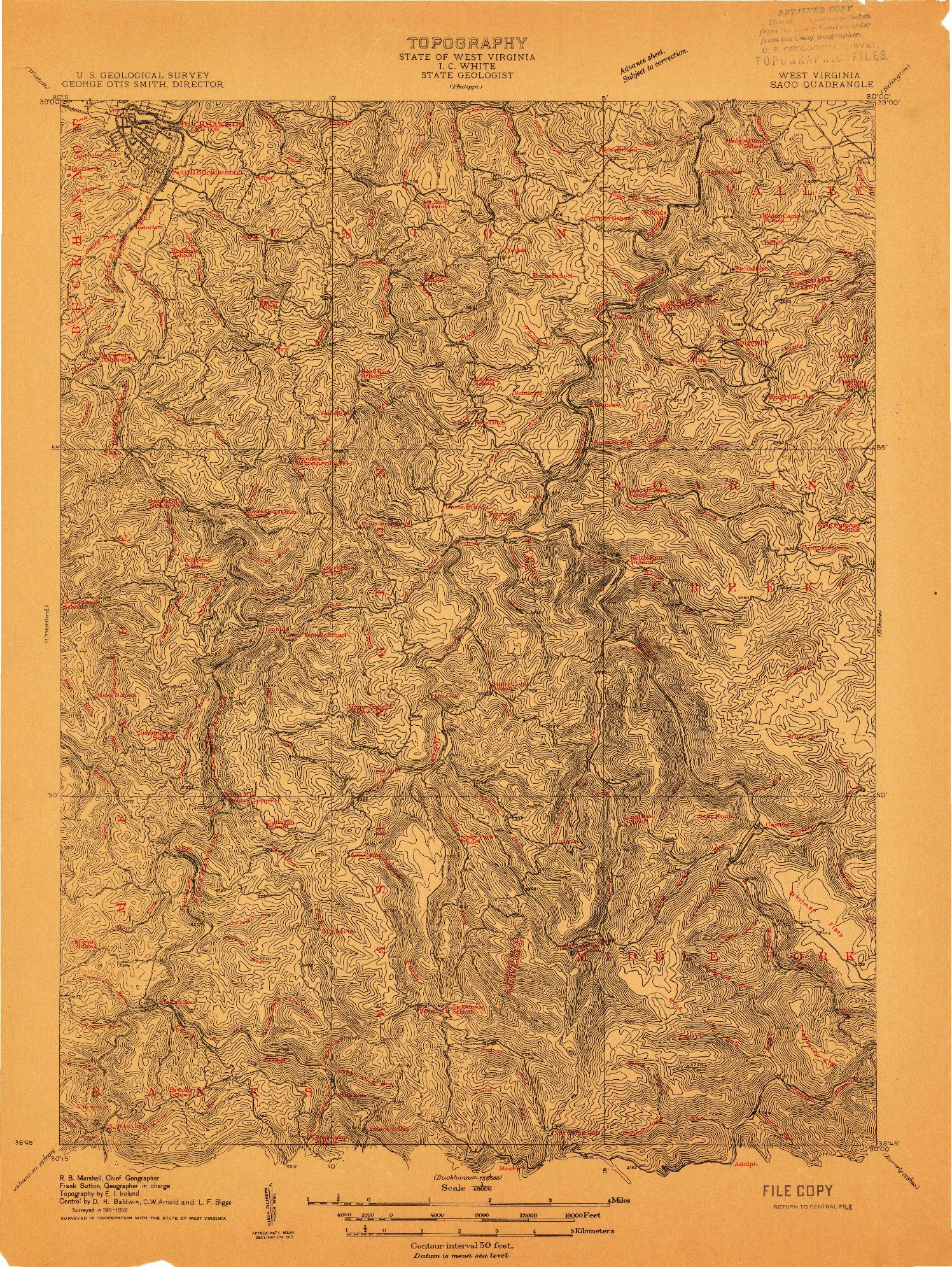 USGS 1:48000-SCALE QUADRANGLE FOR SAGO, WV 1912