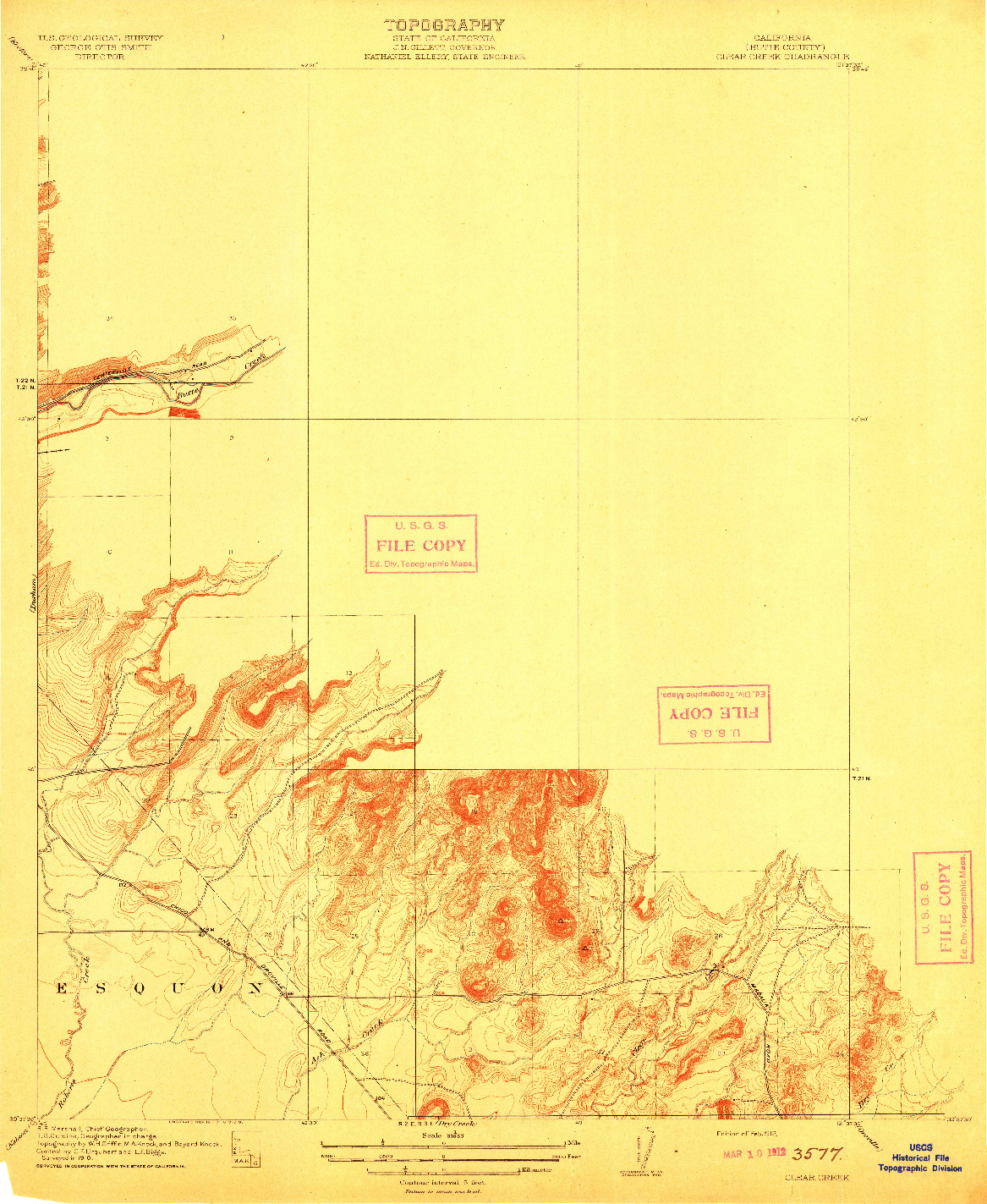 USGS 1:31680-SCALE QUADRANGLE FOR CLEAR CREEK, CA 1912