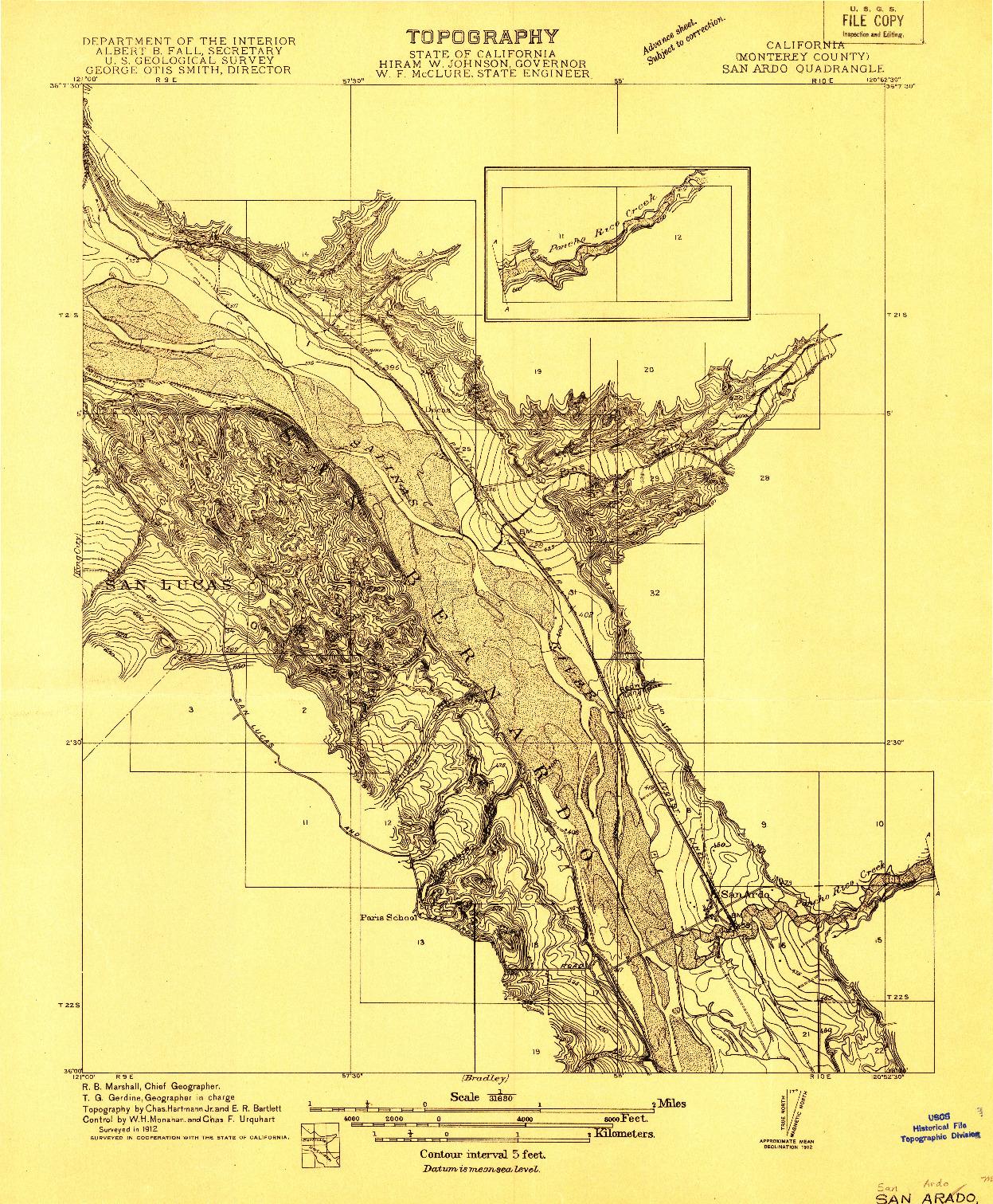 USGS 1:31680-SCALE QUADRANGLE FOR SAN ARDO, CA 1912