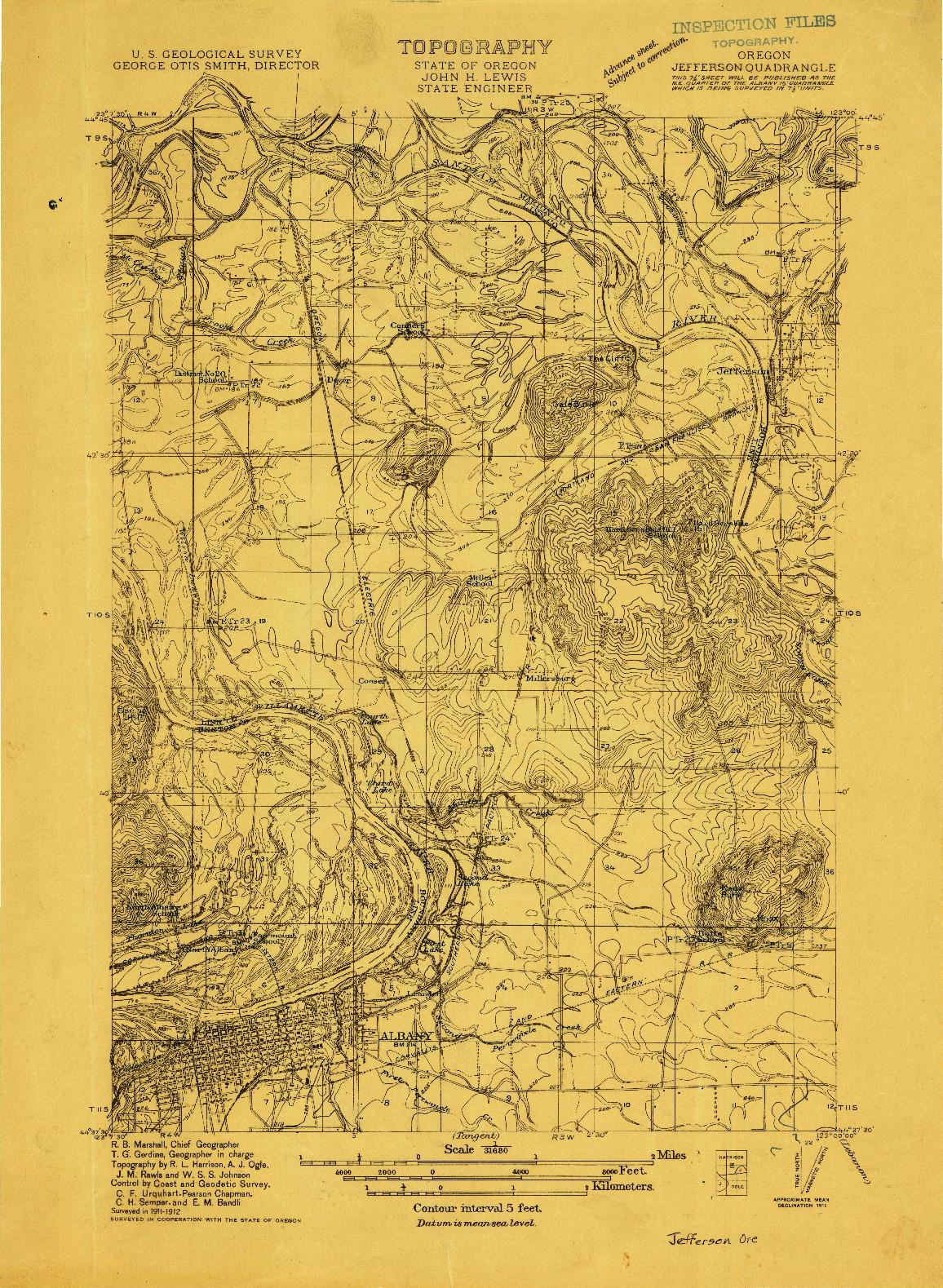 USGS 1:31680-SCALE QUADRANGLE FOR JEFFERSON, OR 1912