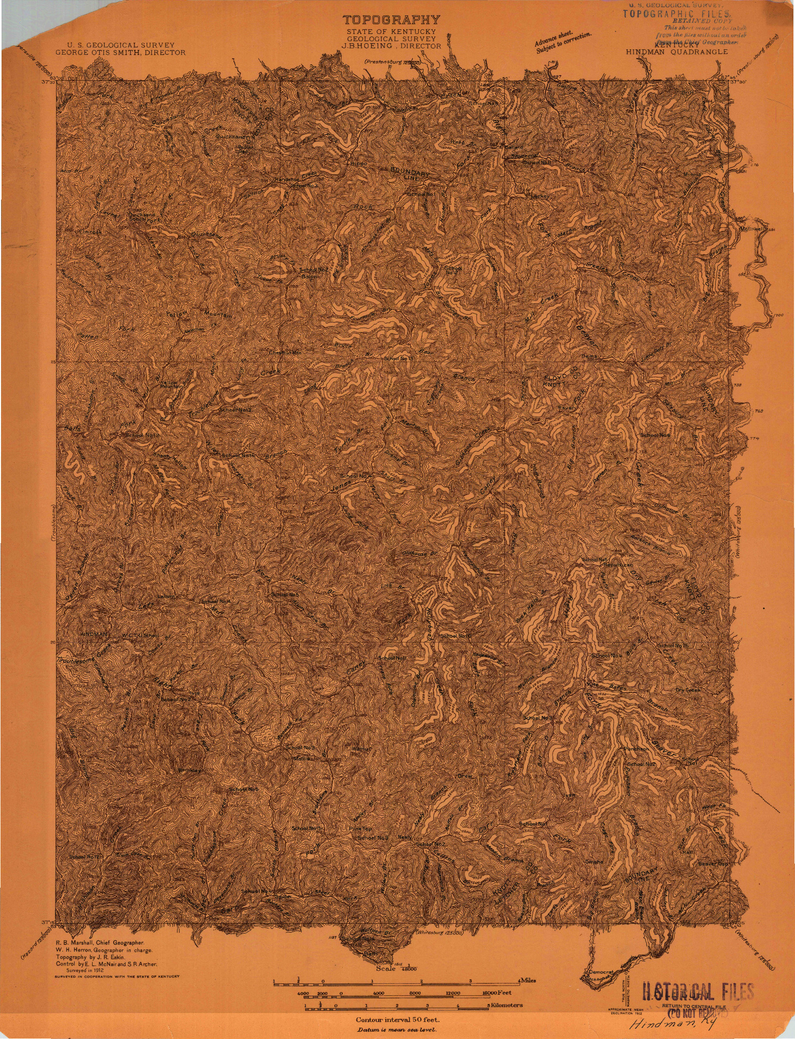 USGS 1:48000-SCALE QUADRANGLE FOR HINDMAN, KY 1912