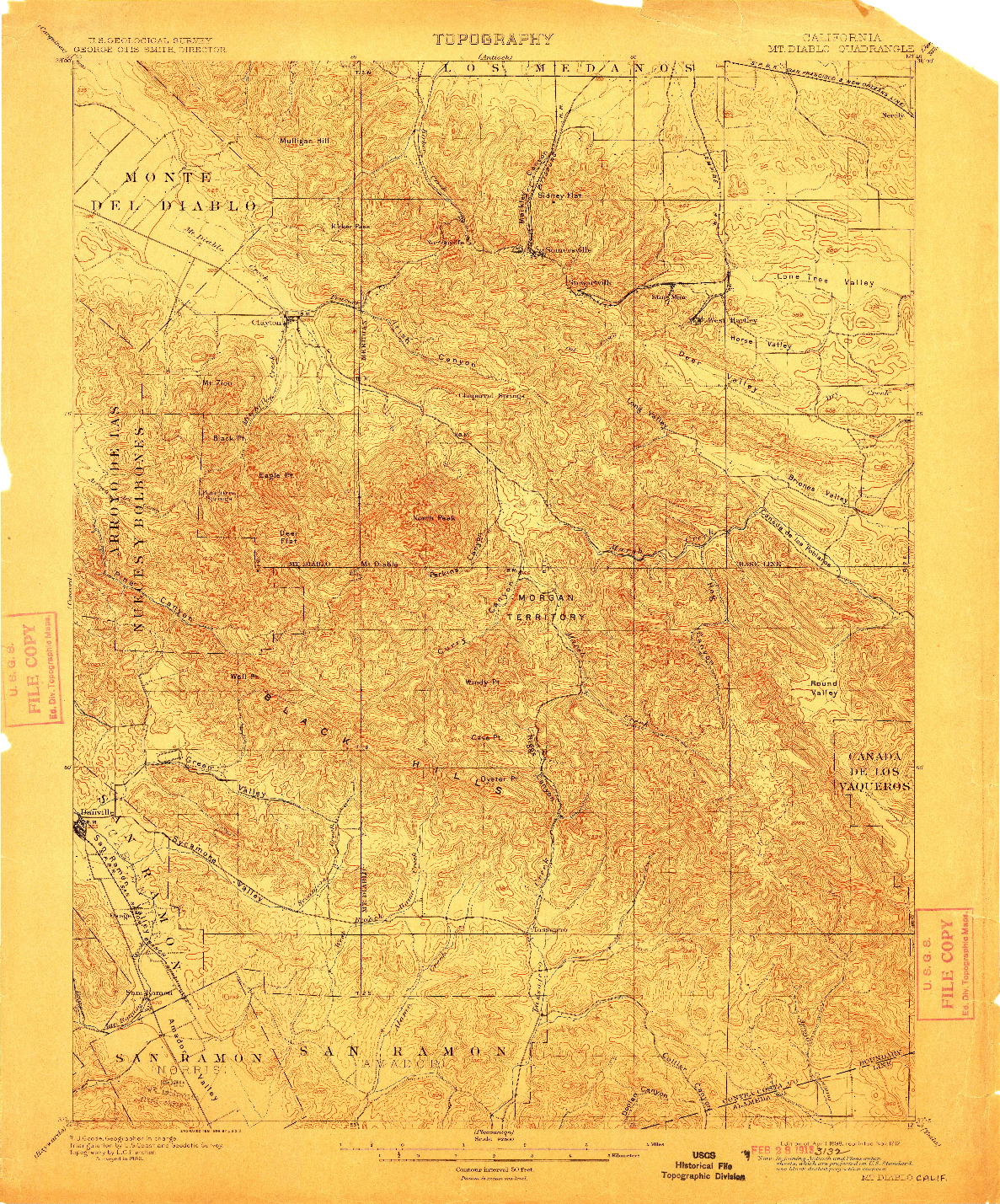 USGS 1:62500-SCALE QUADRANGLE FOR MT. DIABLO, CA 1898