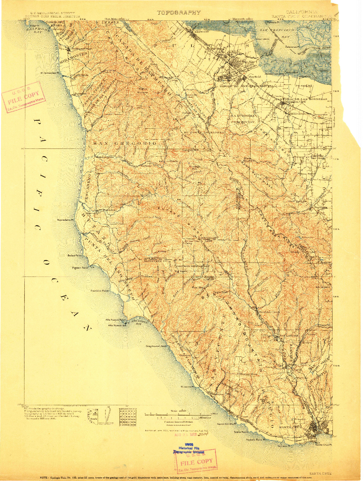 USGS 1:125000-SCALE QUADRANGLE FOR SANTA CRUZ, CA 1902
