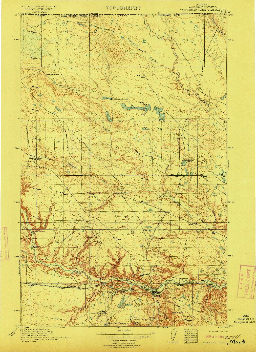 USGS 1:125000-SCALE QUADRANGLE FOR THIBEDEAU LAKE, MT 1912