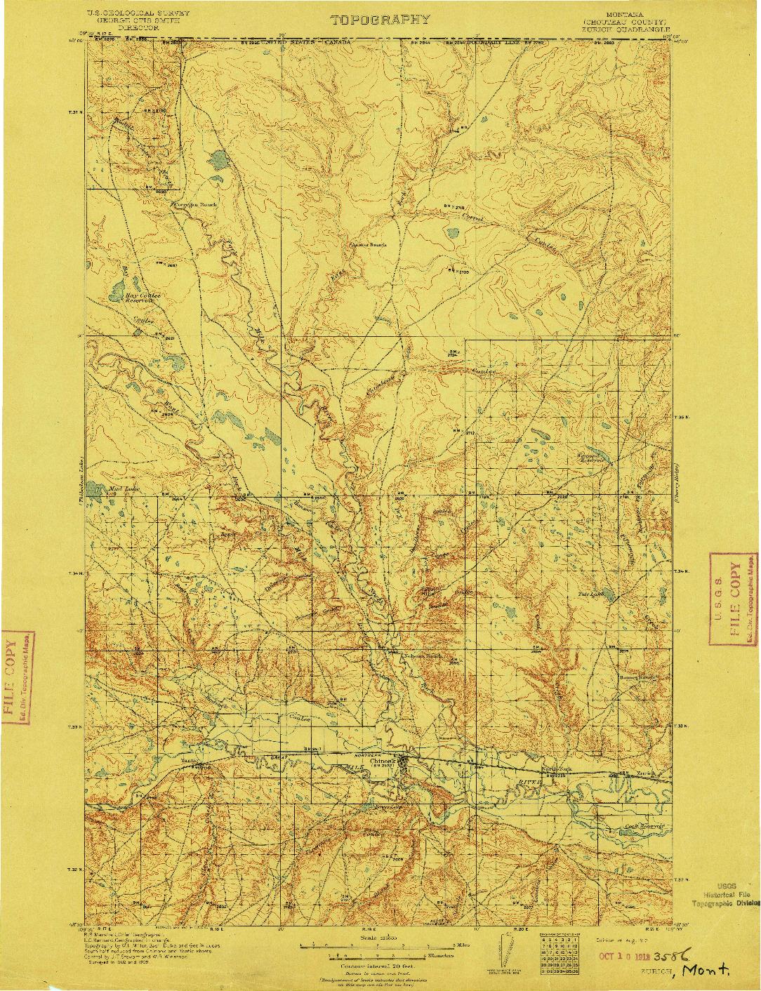 USGS 1:125000-SCALE QUADRANGLE FOR ZURICH, MT 1912