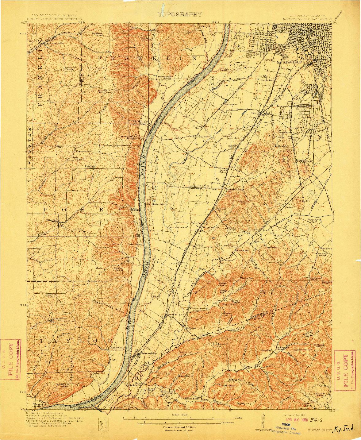 USGS 1:62500-SCALE QUADRANGLE FOR KOSMOSDALE, KY 1912