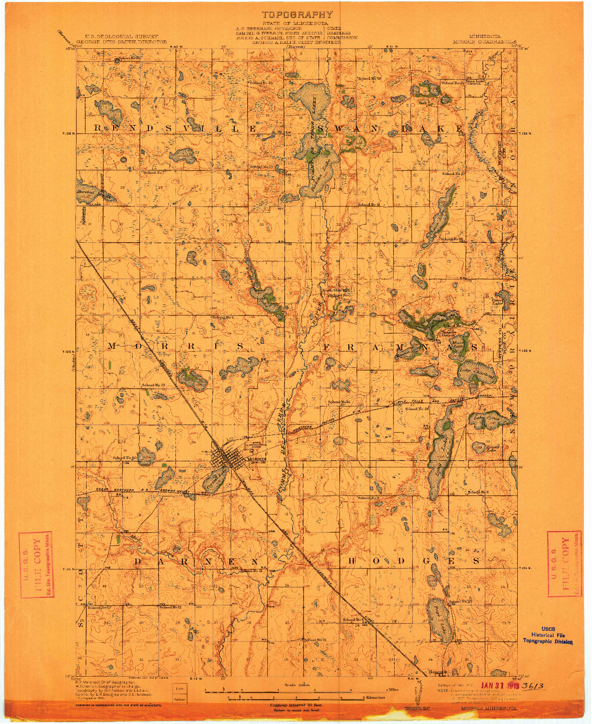 USGS 1:62500-SCALE QUADRANGLE FOR MORRIS, MN 1912