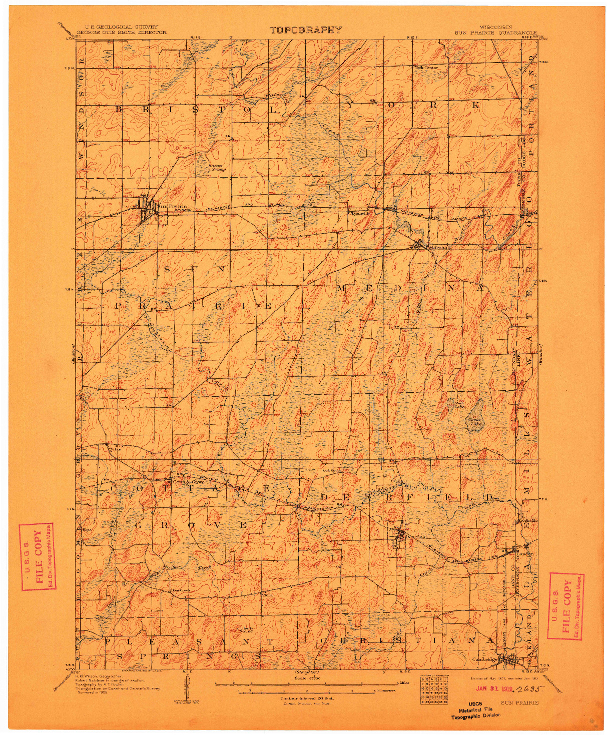 USGS 1:62500-SCALE QUADRANGLE FOR SUN PRAIRIE, WI 1907