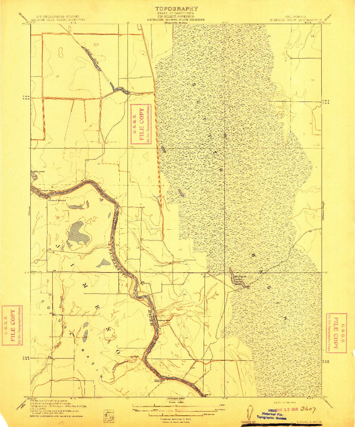 USGS 1:31680-SCALE QUADRANGLE FOR TISDALE WEIR, CA 1912