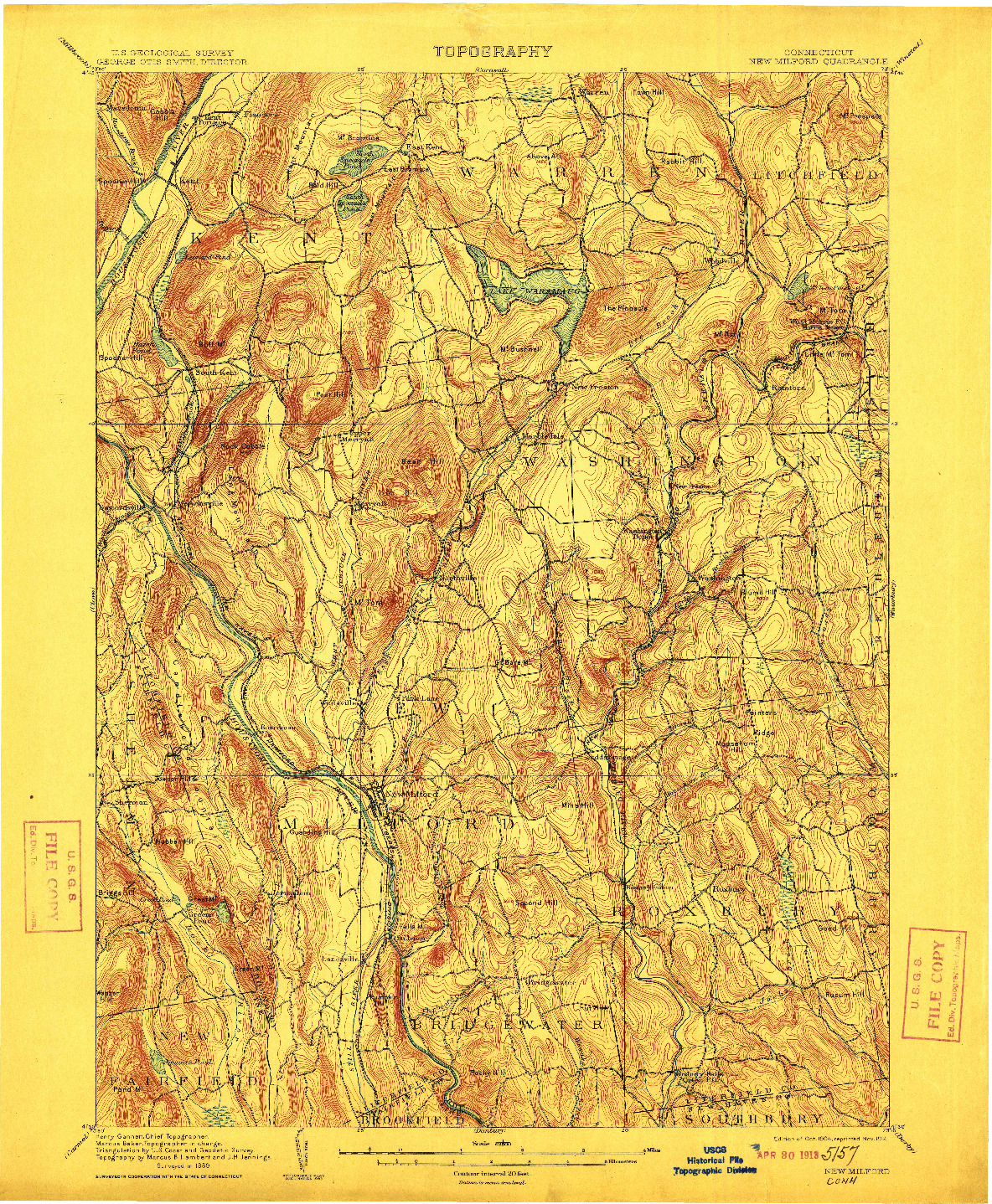 USGS 1:62500-SCALE QUADRANGLE FOR NEW MILFORD, CT 1904