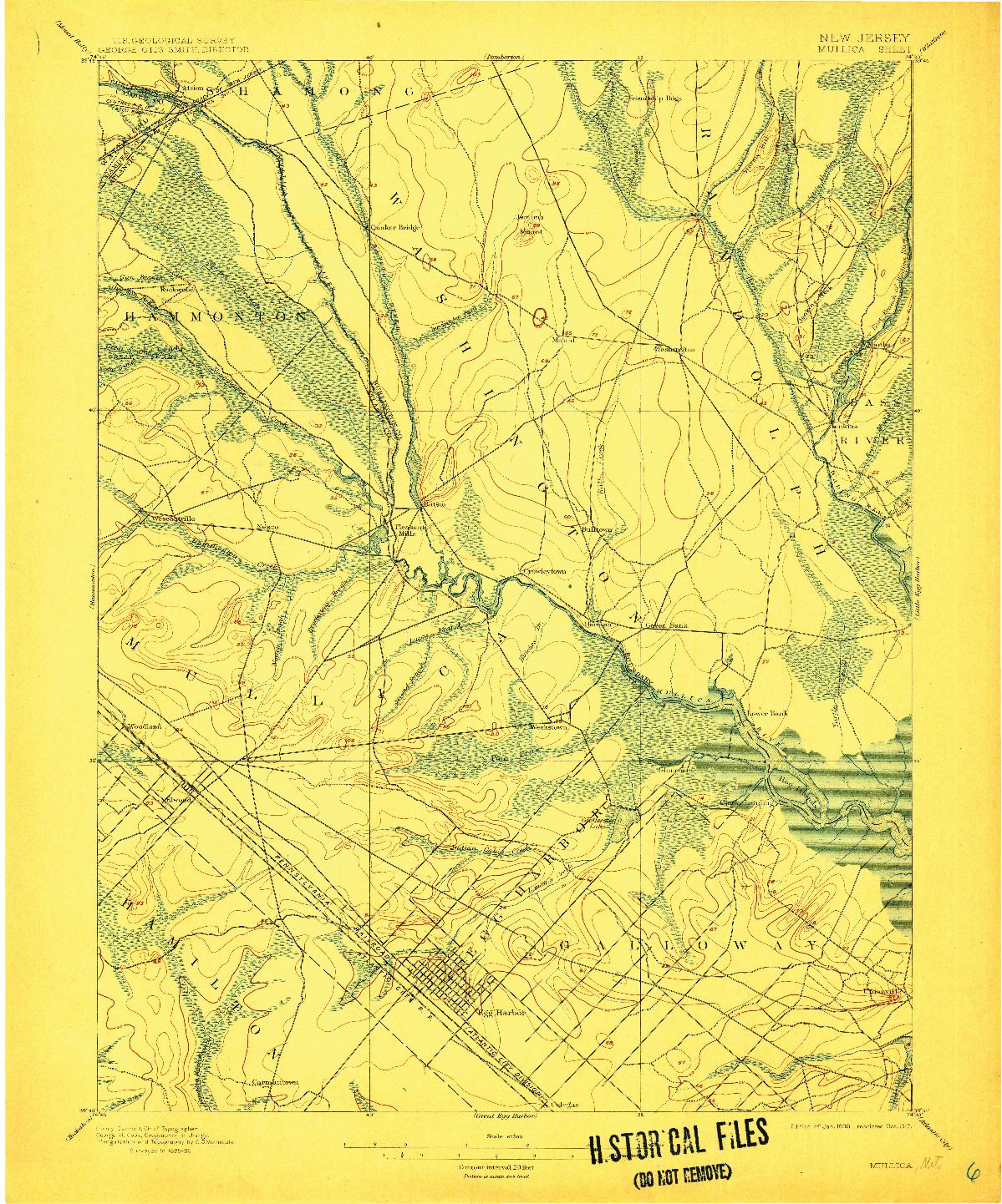 USGS 1:62500-SCALE QUADRANGLE FOR MULLICA, NJ 1898
