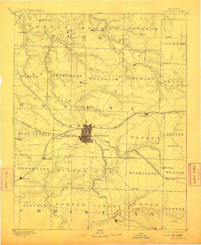 USGS 1:125000-SCALE QUADRANGLE FOR SPRINGFIELD, MO 1886