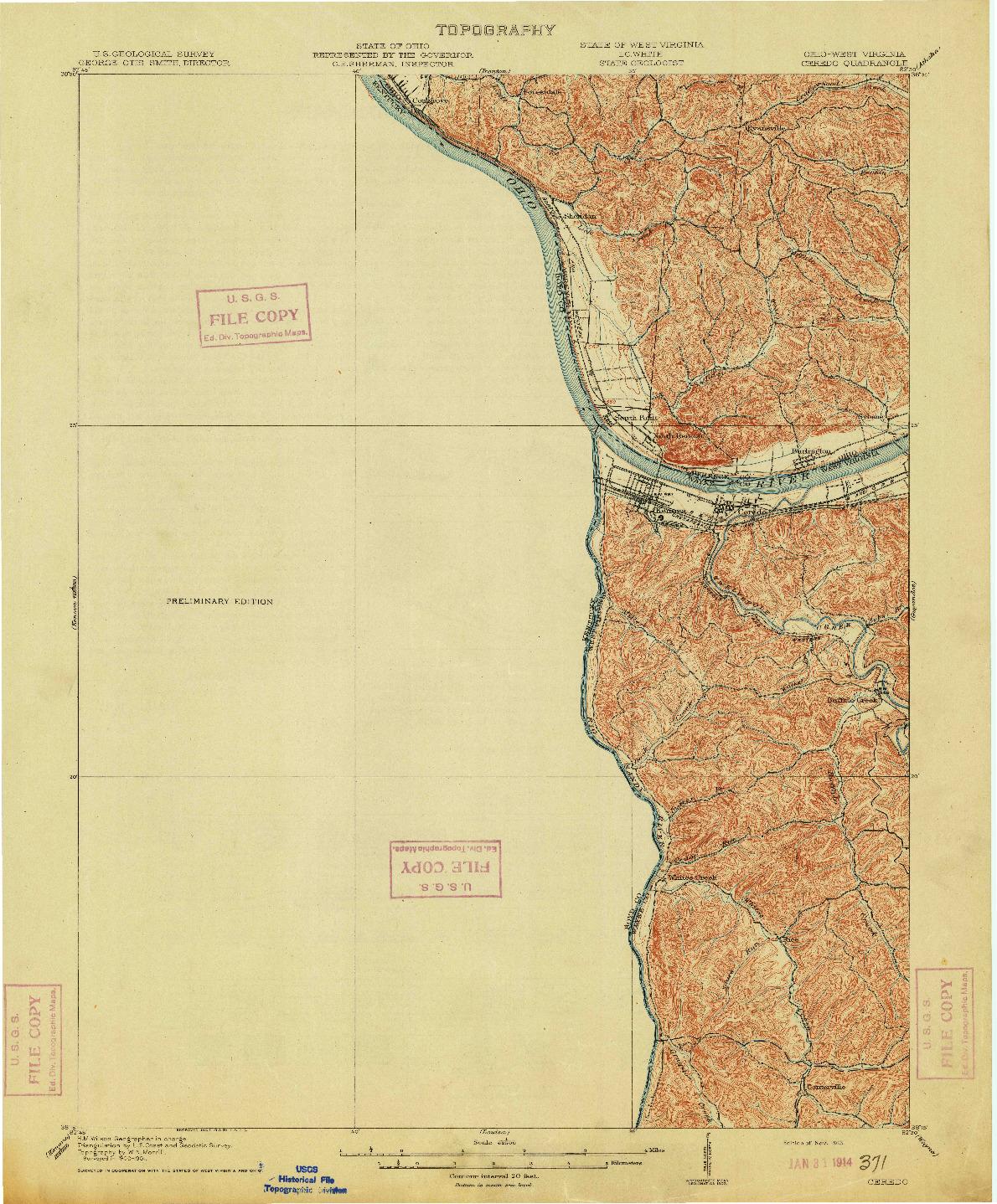 USGS 1:62500-SCALE QUADRANGLE FOR CEREDO, OH 1913
