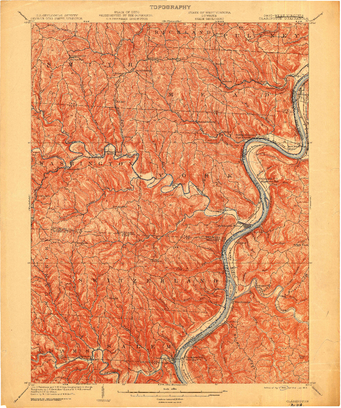 USGS 1:62500-SCALE QUADRANGLE FOR CLARINGTON, OH 1905