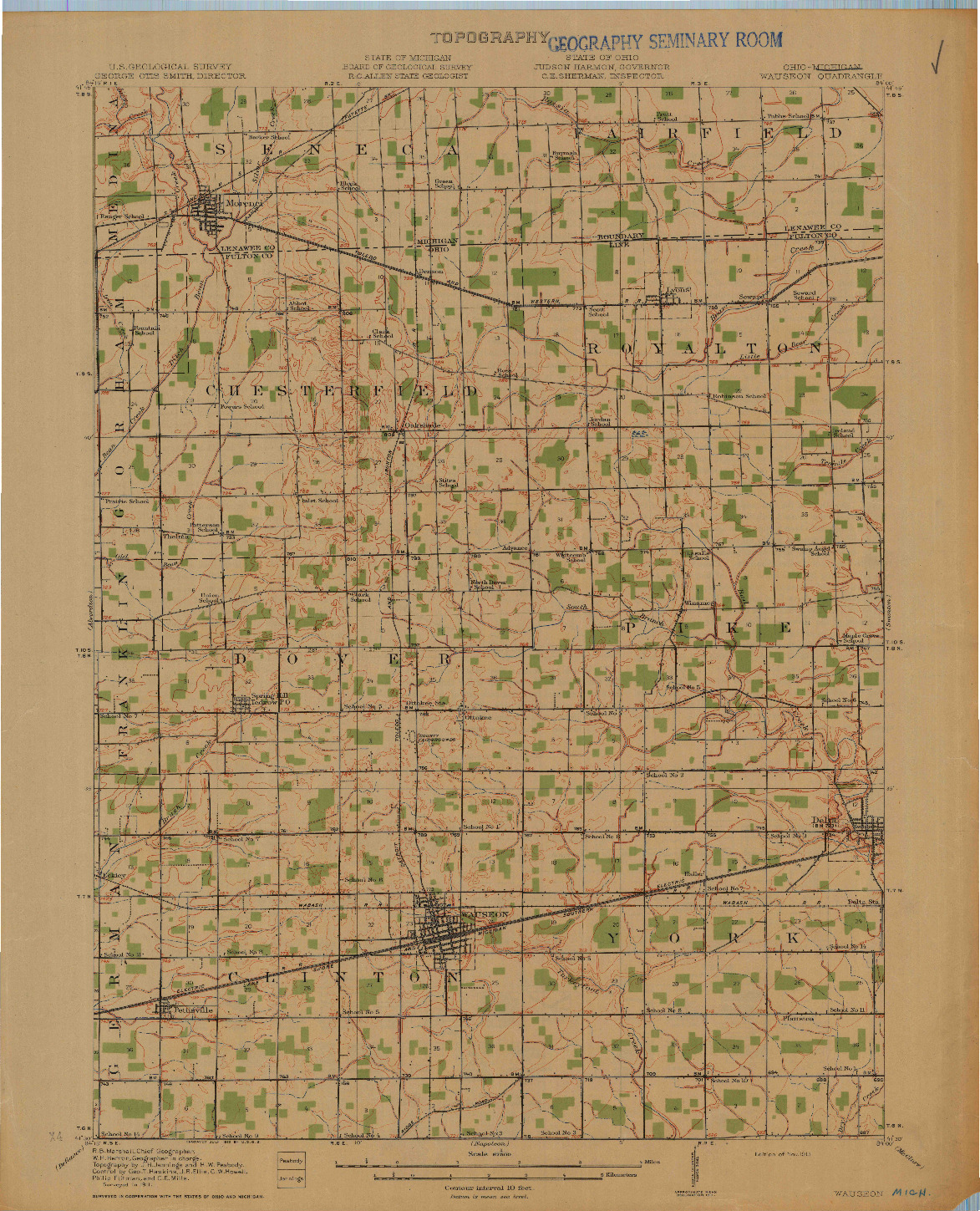 USGS 1:62500-SCALE QUADRANGLE FOR WAUSEON, OH 1913