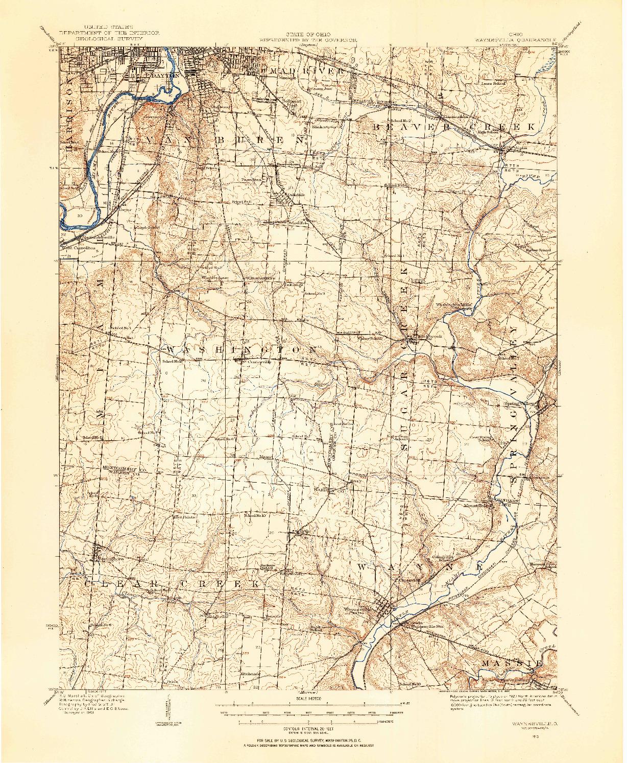 USGS 1:62500-SCALE QUADRANGLE FOR WAYNESVILLE, OH 1913