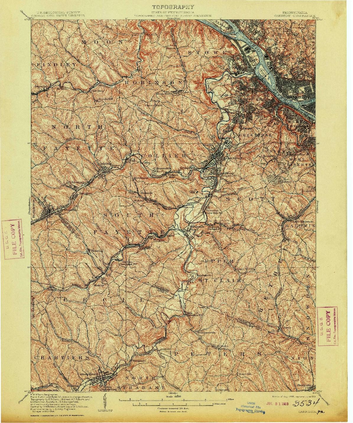 USGS 1:62500-SCALE QUADRANGLE FOR CARNEGIE, PA 1906