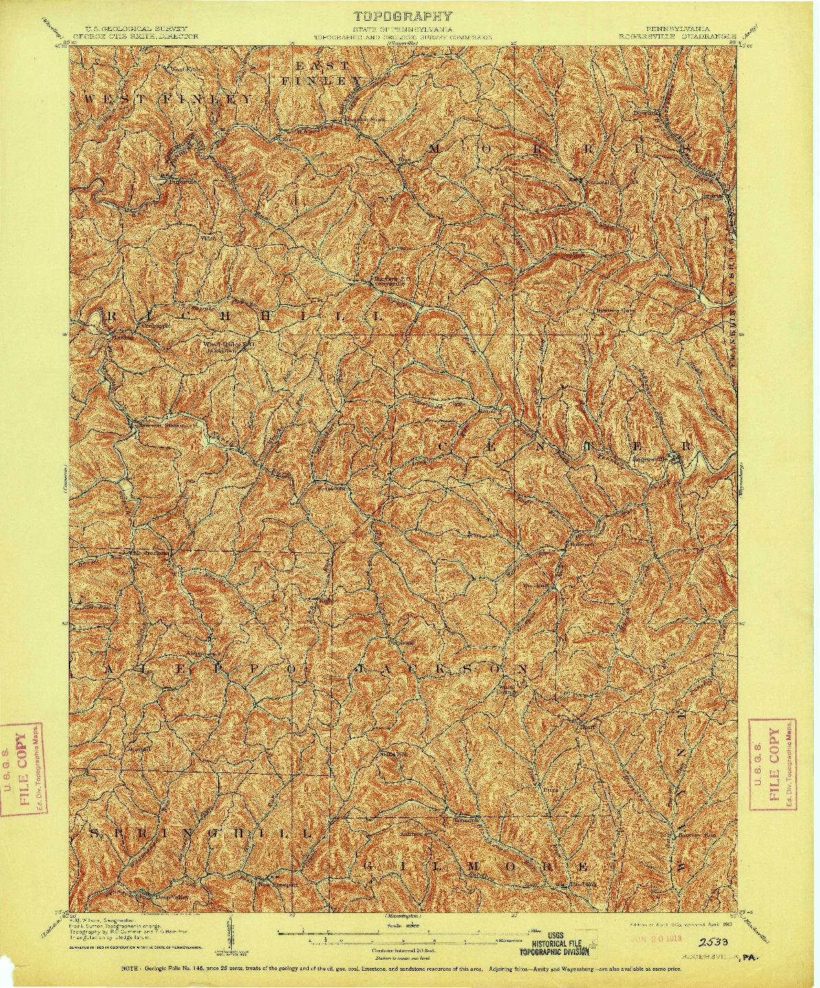 USGS 1:62500-SCALE QUADRANGLE FOR ROGERSVILLE, PA 1905