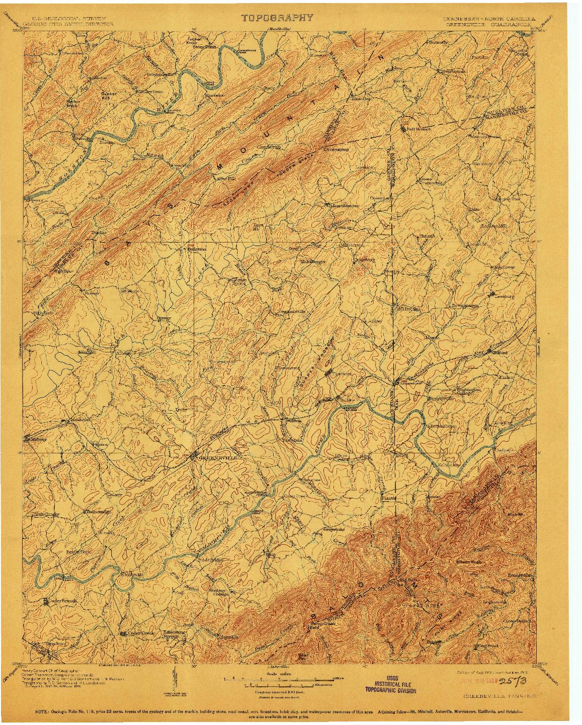 USGS 1:125000-SCALE QUADRANGLE FOR GREENEVILLE, TN 1904