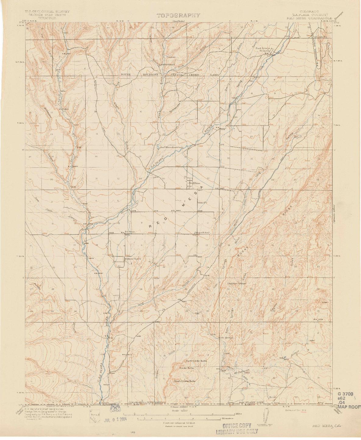 USGS 1:62500-SCALE QUADRANGLE FOR RED MESA, CO 1913