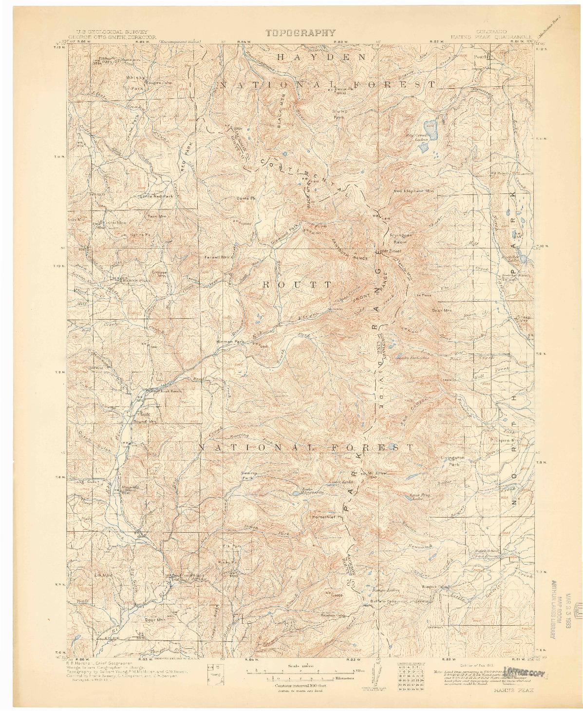 USGS 1:125000-SCALE QUADRANGLE FOR HAHNS PEAK, CO 1913